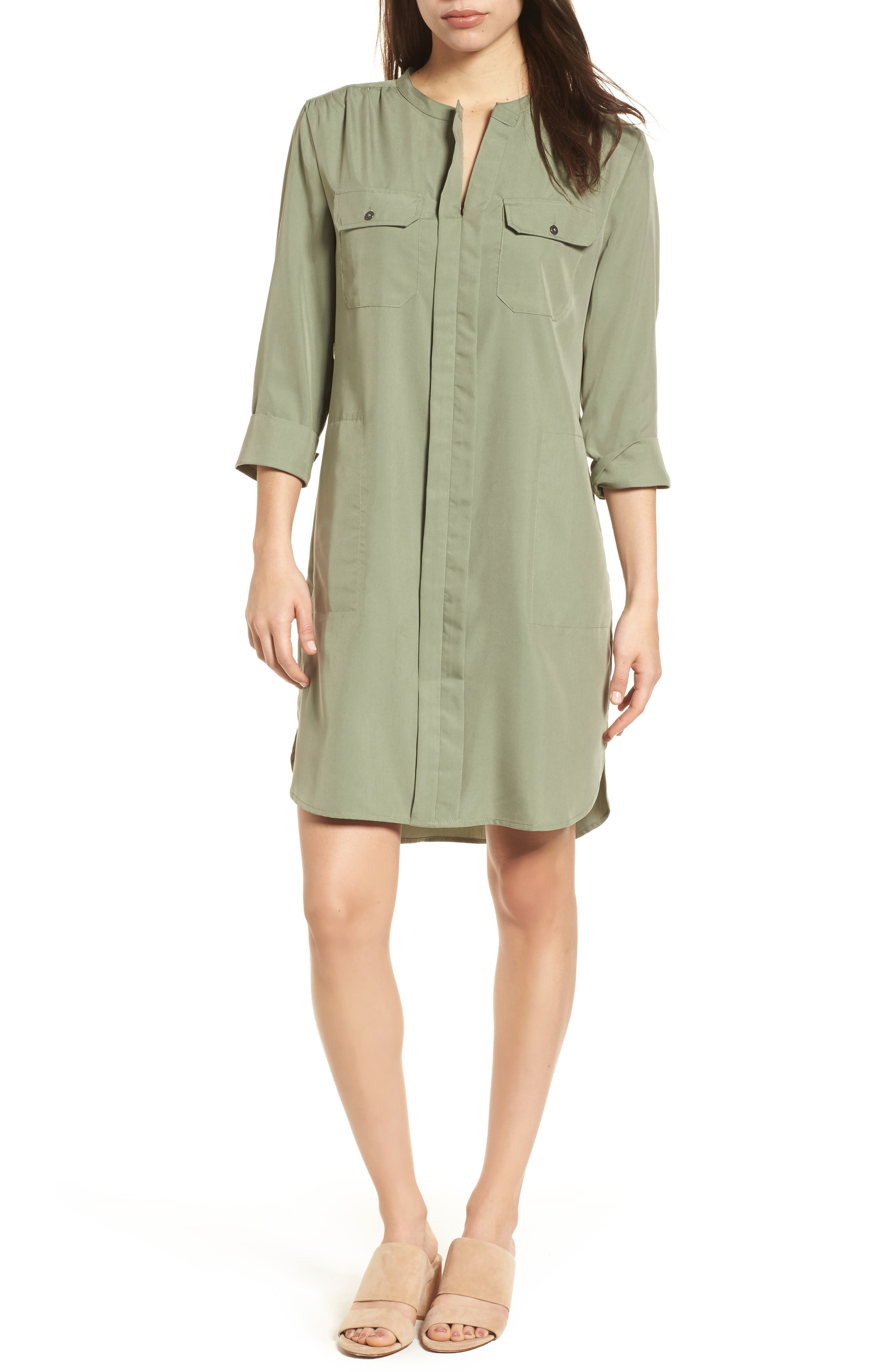 Wanderlust Shirtdress,                             Main thumbnail 1, color,                             Spring Moss