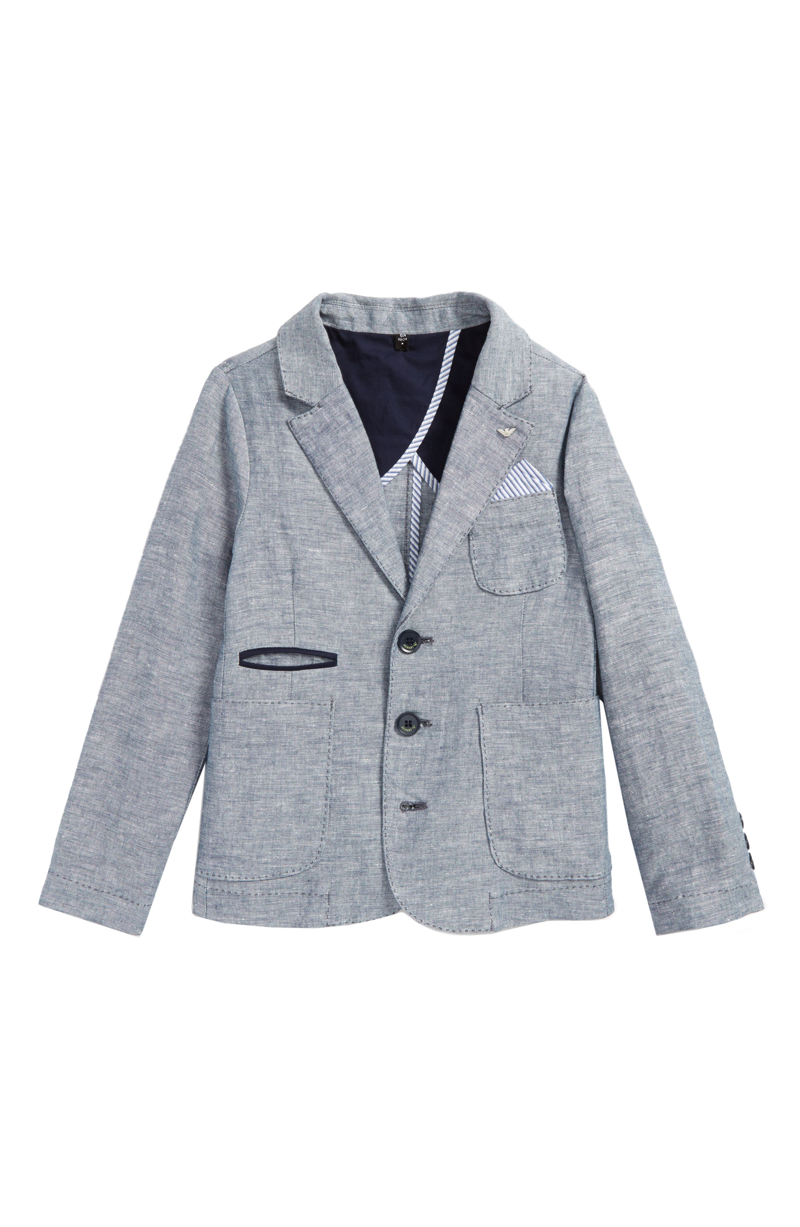Chambray Blazer,                             Main thumbnail 1, color,                             Blue