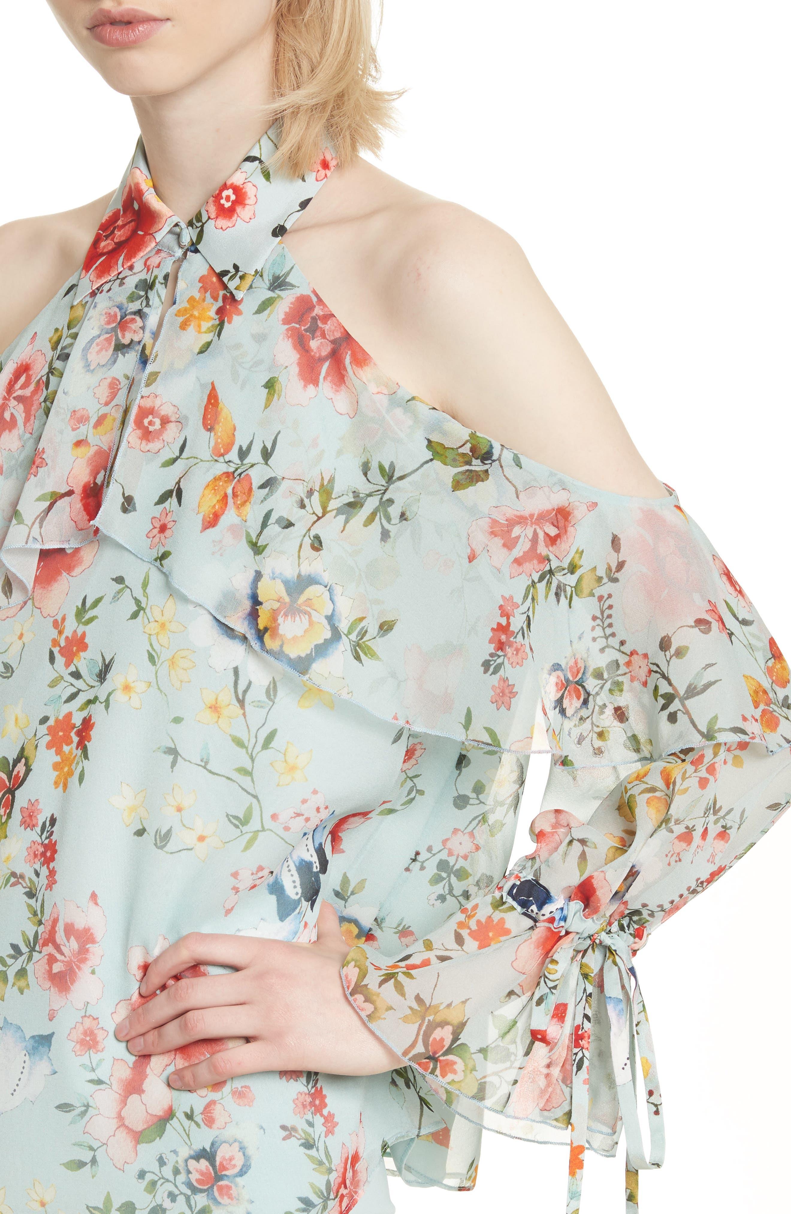 Blayne Cold Shoulder Floral Silk Blouse,                             Alternate thumbnail 4, color,                             Floral Soiree-Dusty Aqua