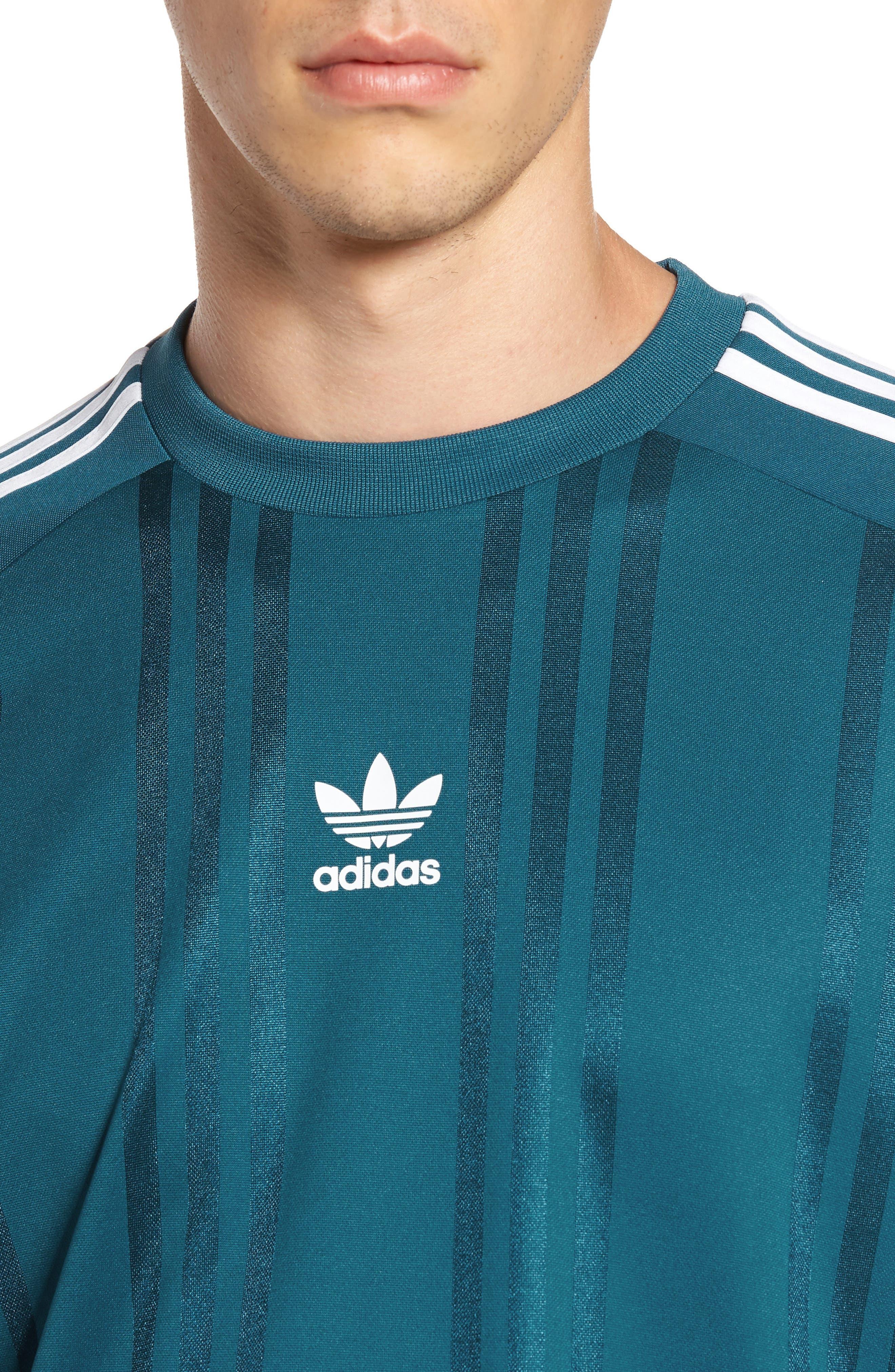 Originals Jacquard Stripe T-Shirt,                             Alternate thumbnail 4, color,                             Real Teal