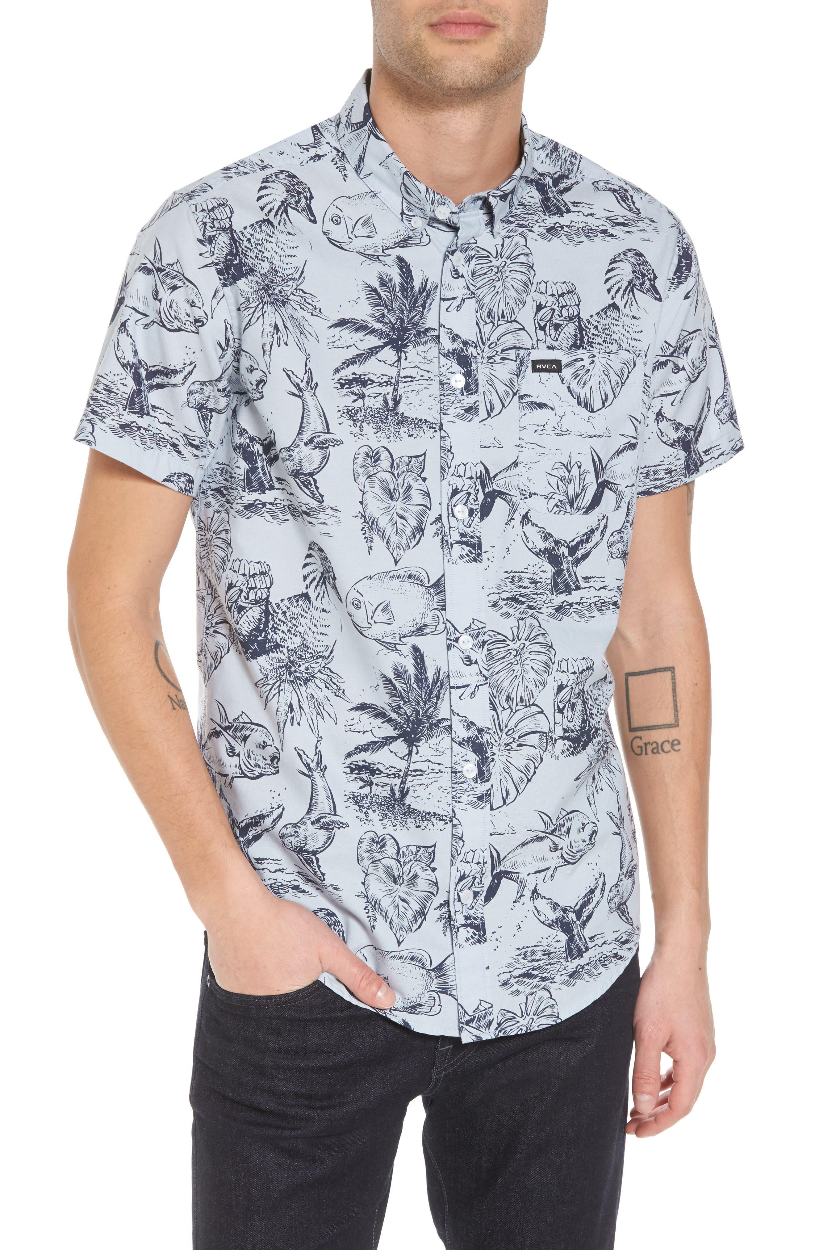 Aloha Woven Shirt,                             Main thumbnail 1, color,                             Deja Blue