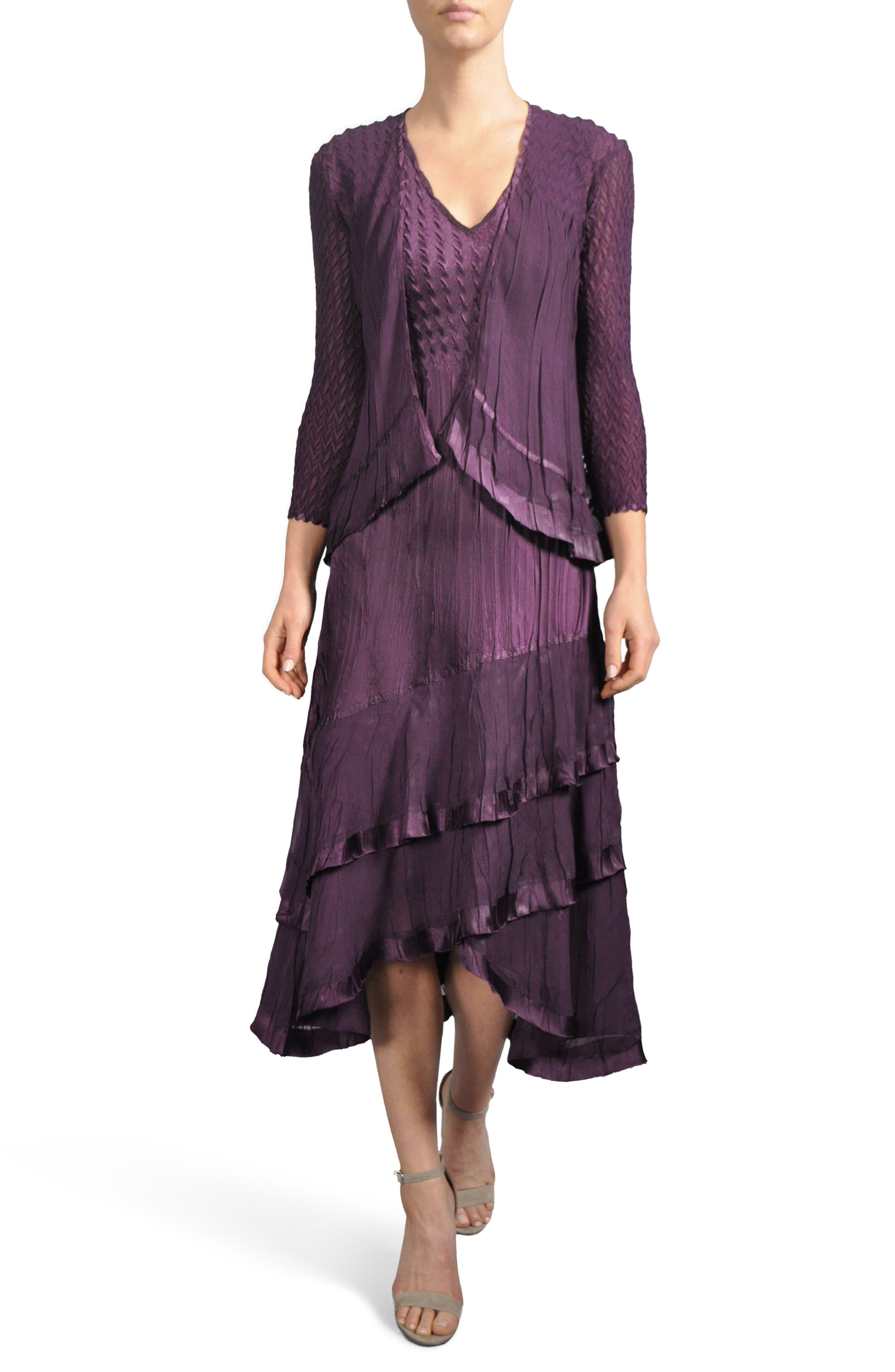 Komorov Textured Tiered Midi Dress with Jacket,                             Main thumbnail 1, color,                             Aubergine