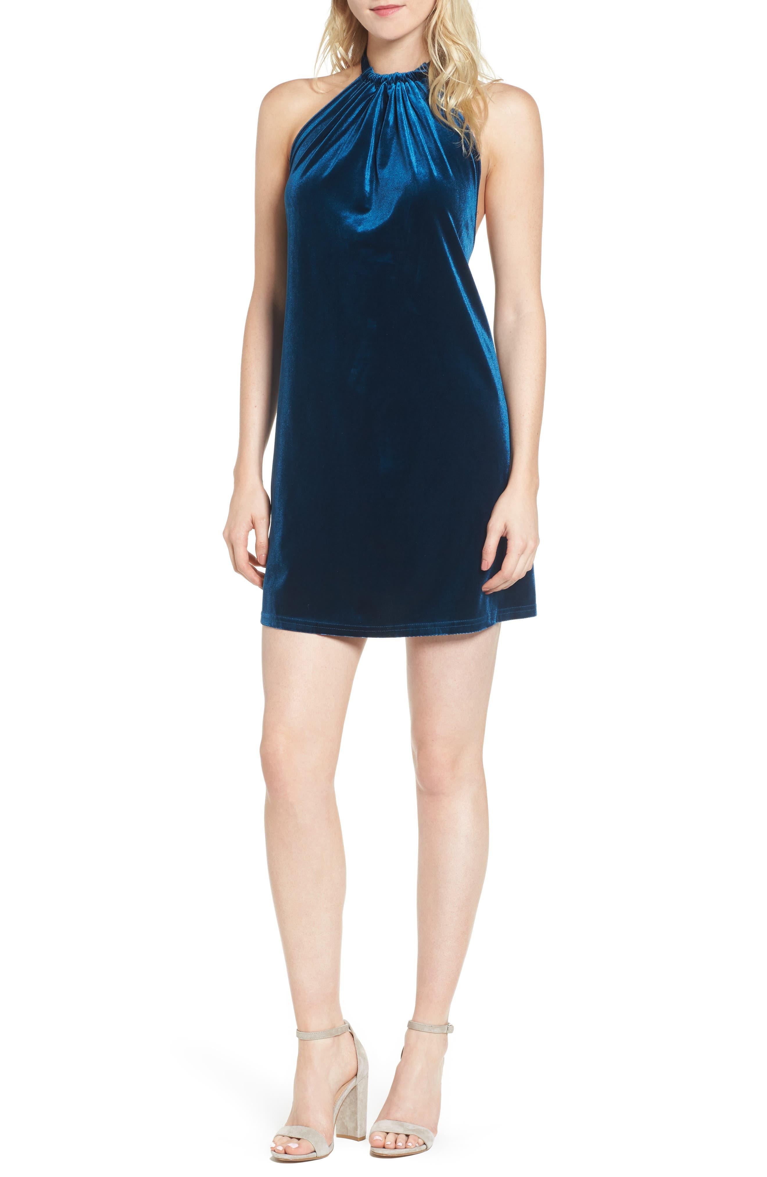 Bishop + Young Talia Velvet Minidress,                         Main,                         color, Jade