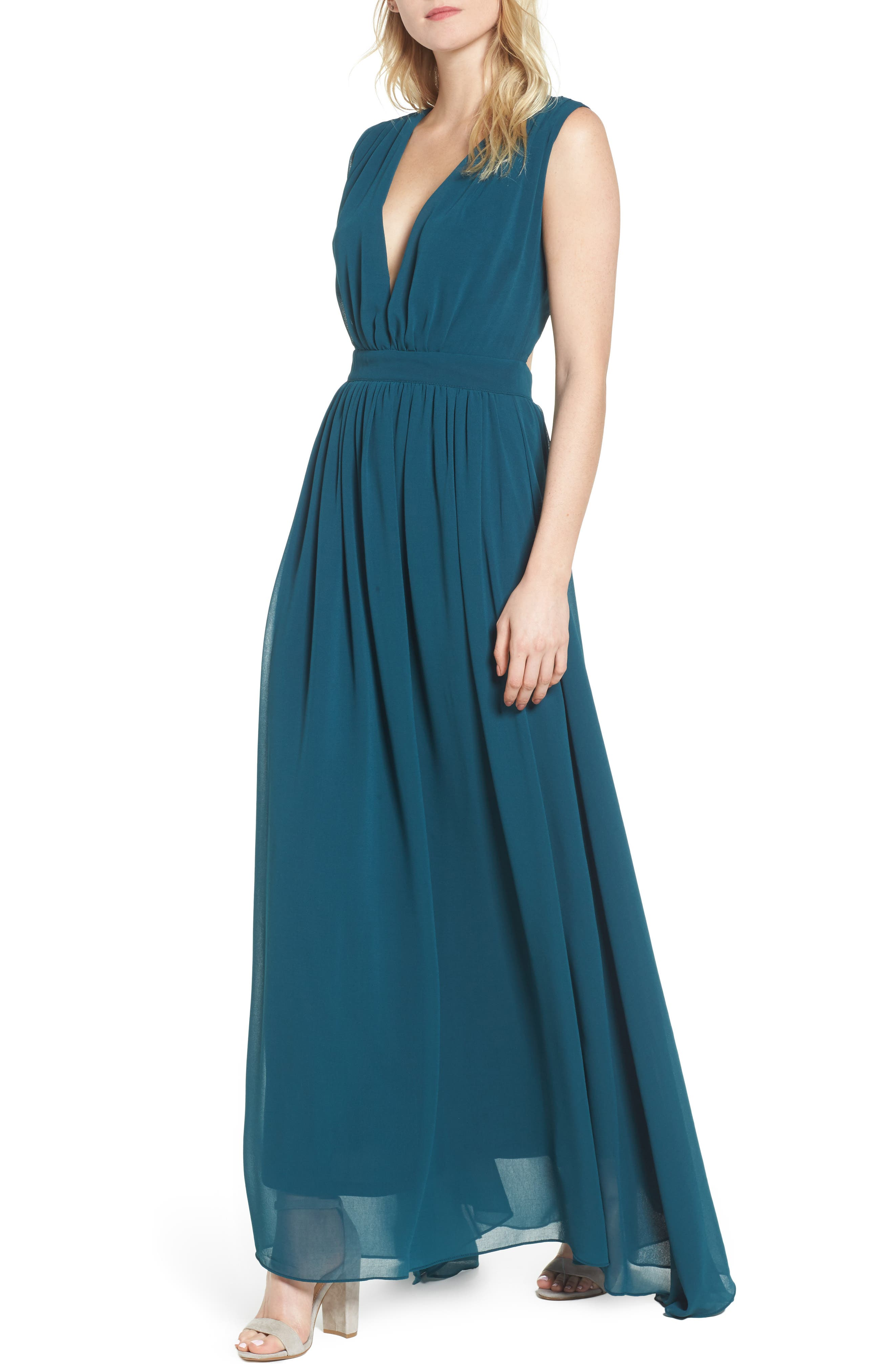 Bishop + Young Plunging Maxi Dress,                         Main,                         color, Jade
