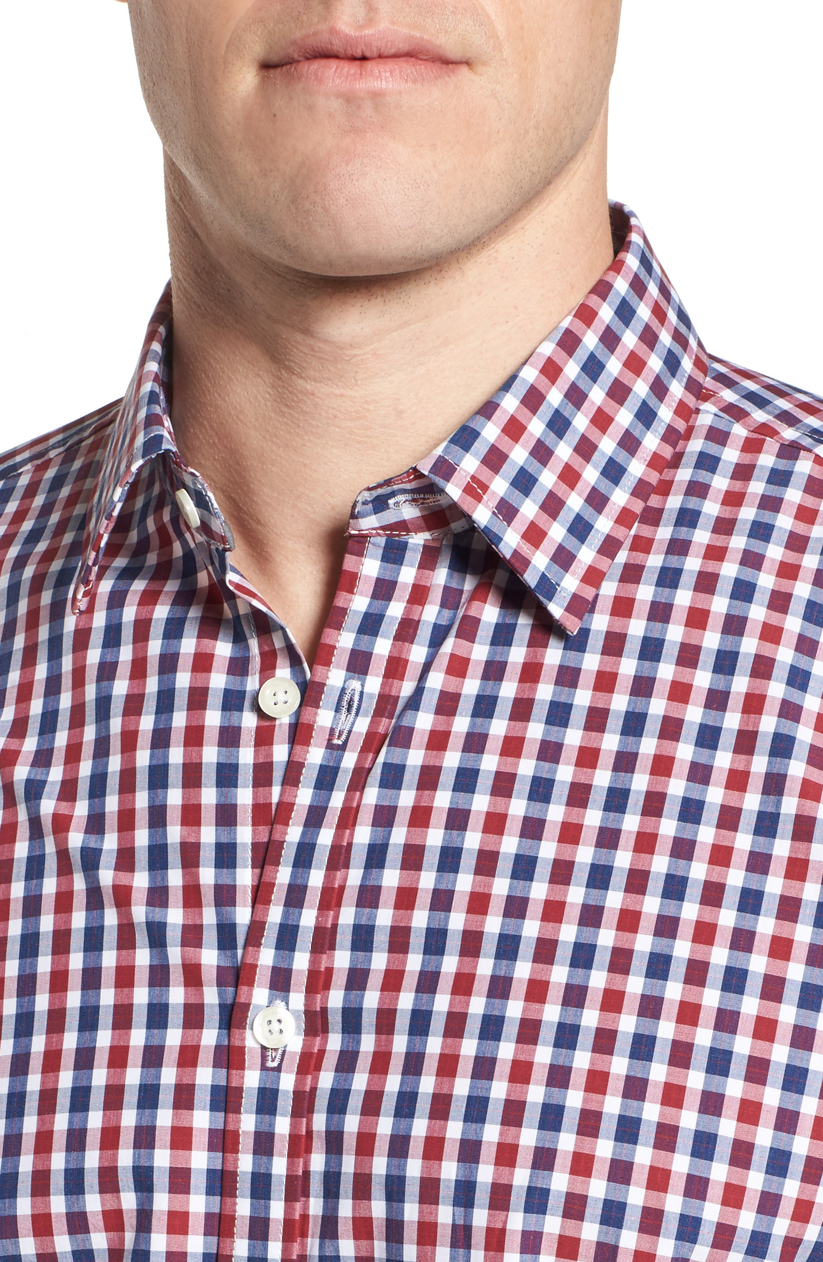 Slim Fit Check Sport Shirt,                             Alternate thumbnail 4, color,                             Bright Red