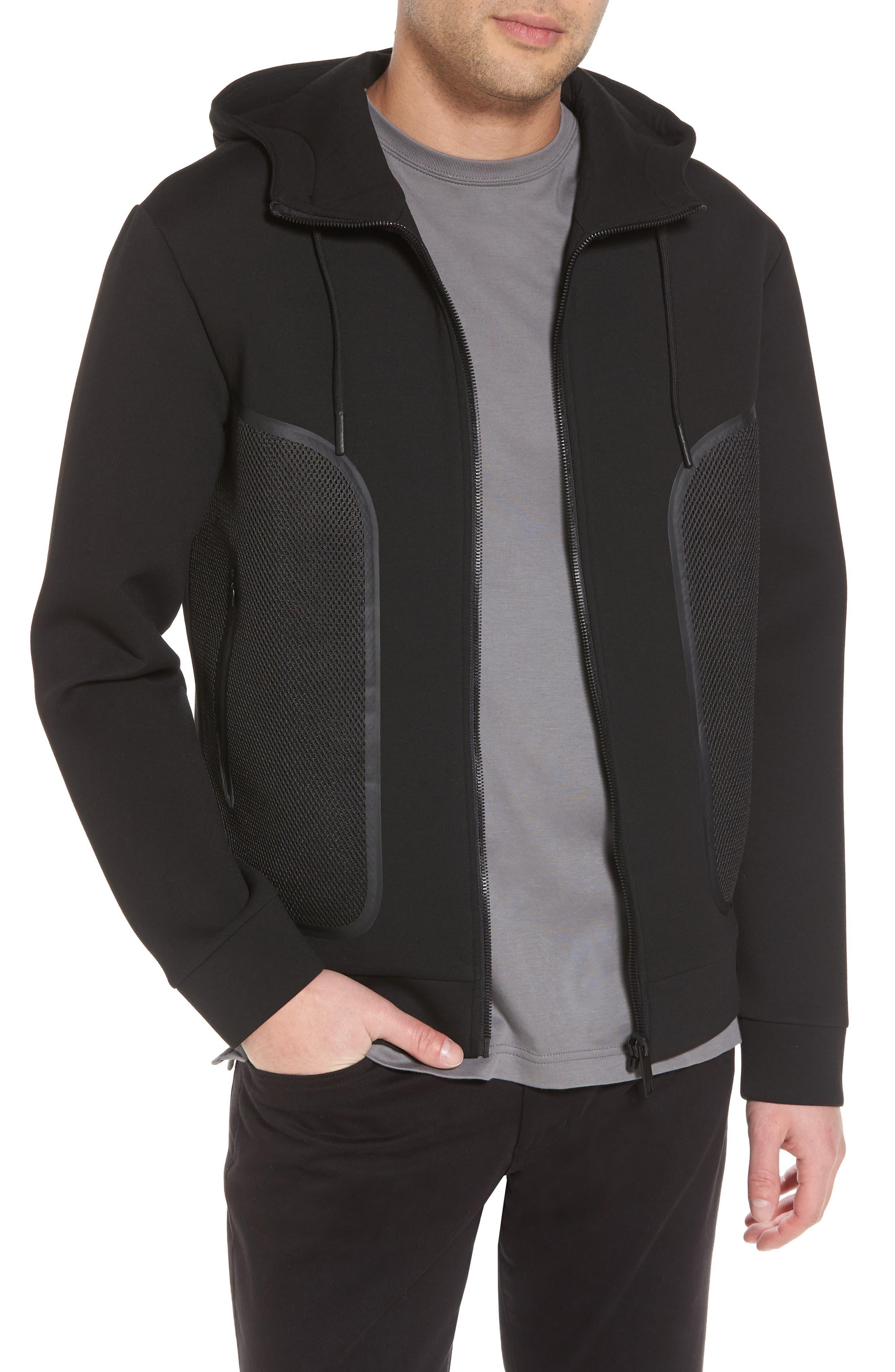 Hooded Fleece Jacket,                         Main,                         color, Black