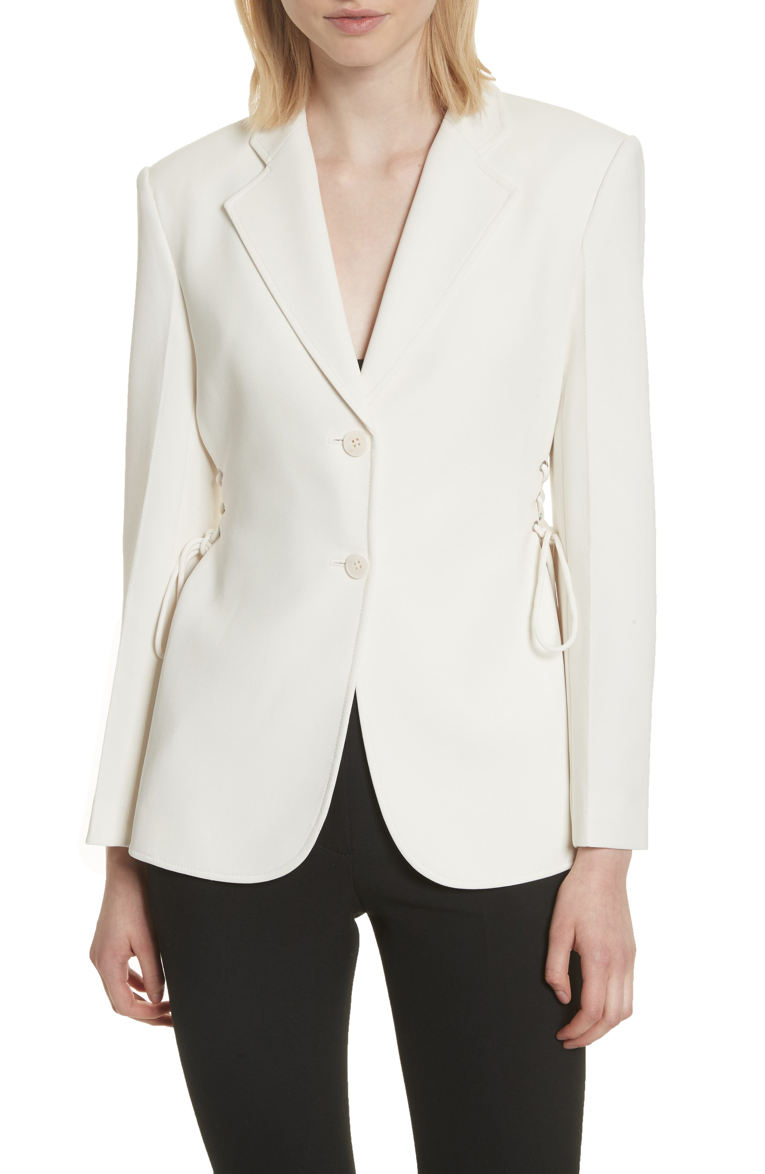 Admiral Crepe Lace-Up Suit Jacket,                             Main thumbnail 1, color,                             Warm Ivory