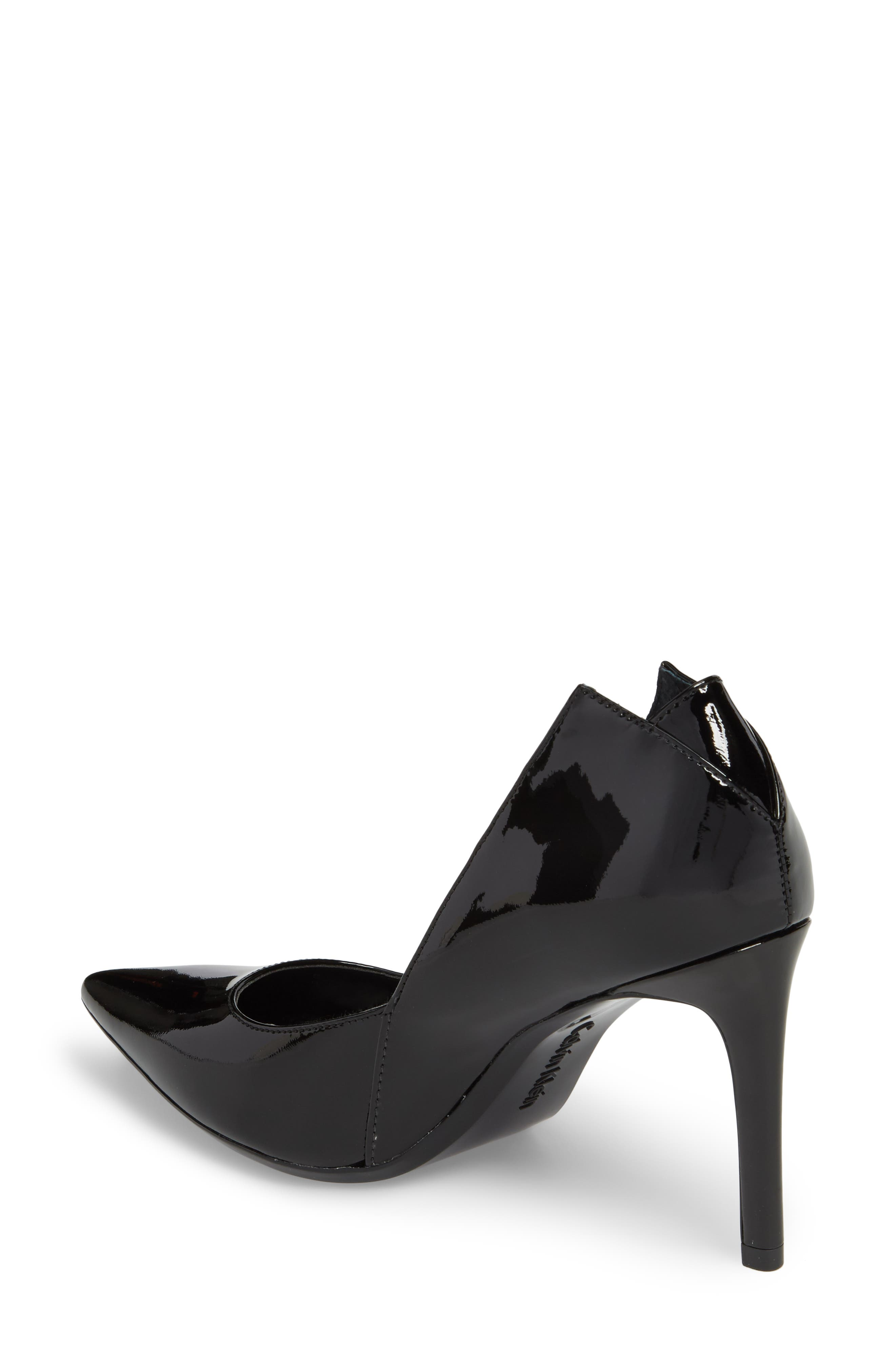 Randa Pointy Toe Pump,                             Alternate thumbnail 2, color,                             Black Leather