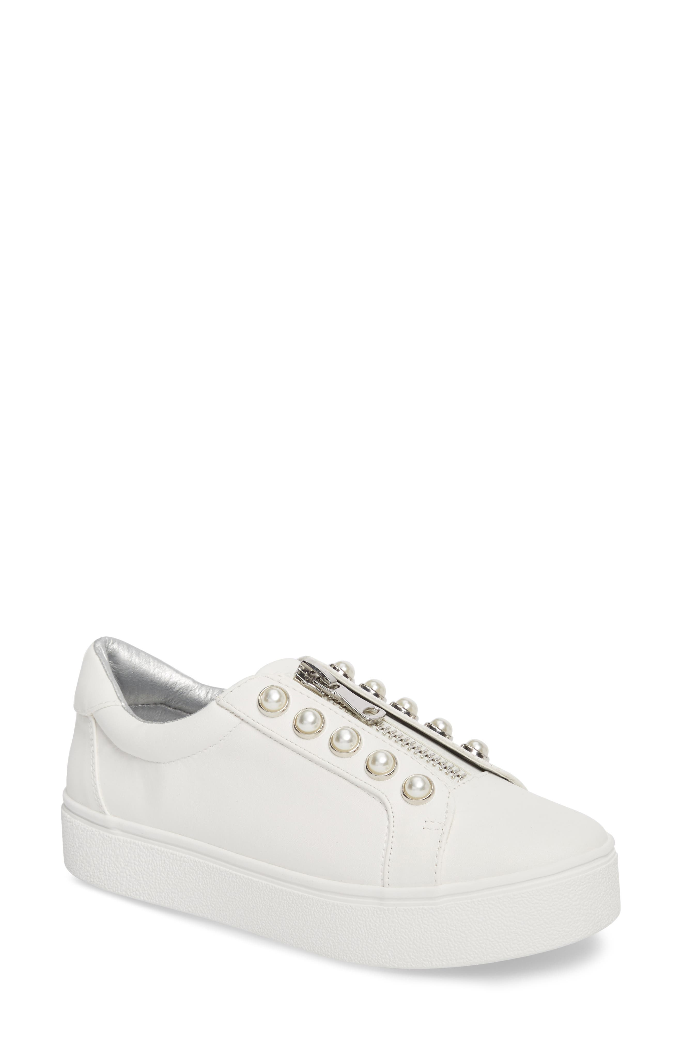 Lynn Embellished Platform Sneaker,                         Main,                         color, White Faux Leather