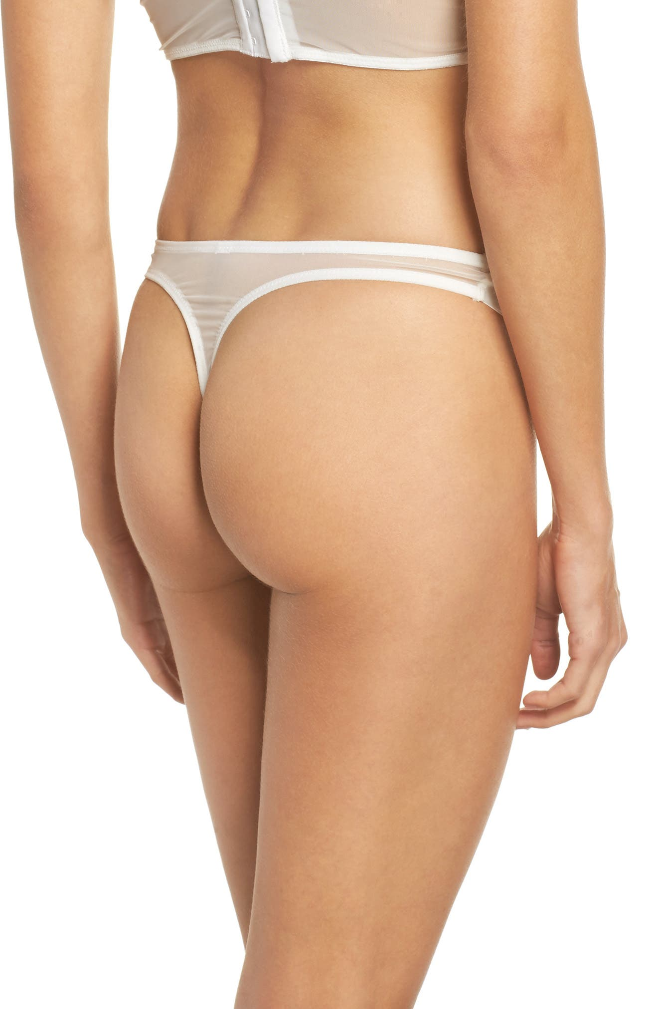 Thistle & Spire Sterling Embellished Lace Thong,                             Alternate thumbnail 2, color,                             Ivory