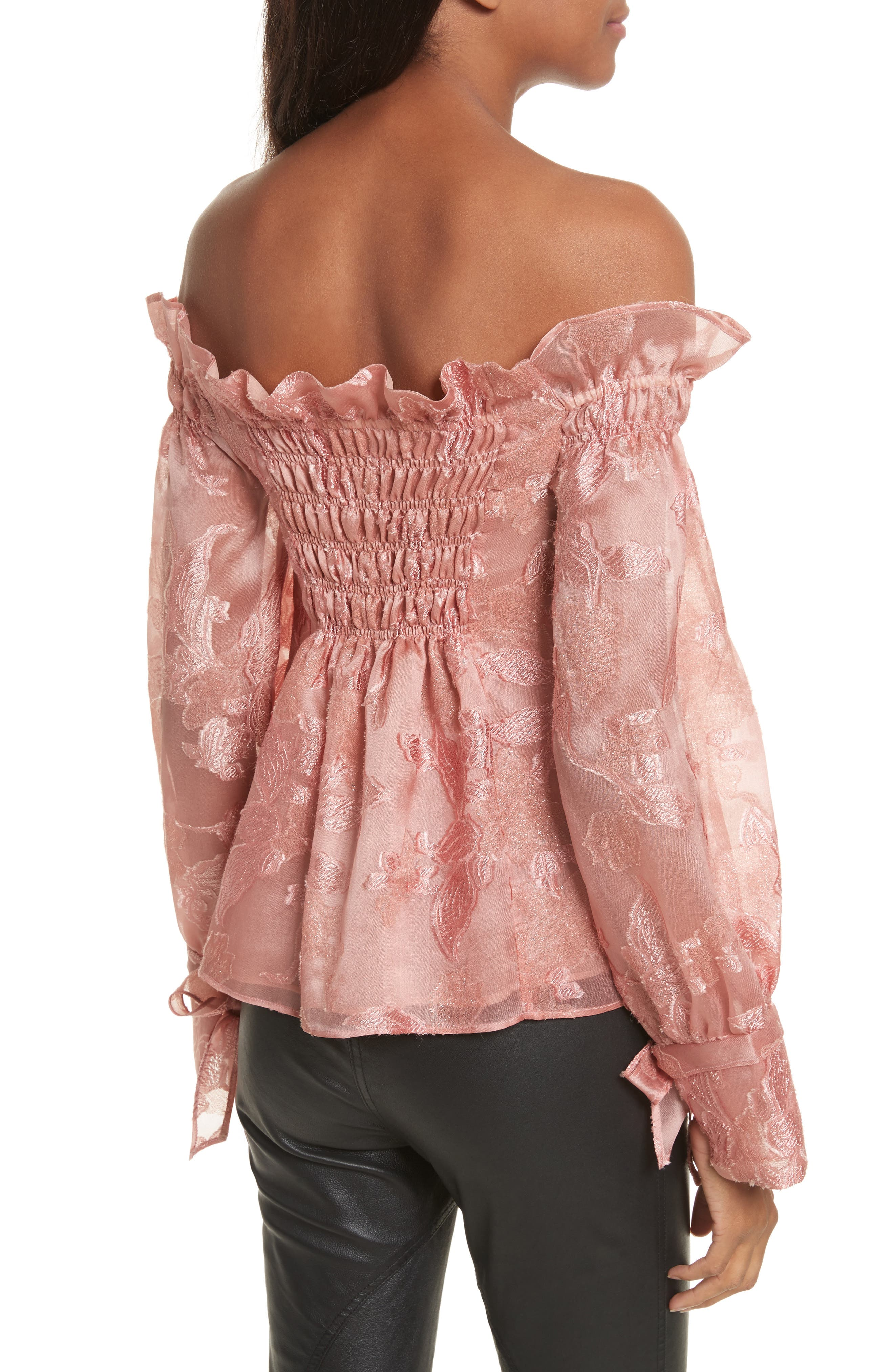 Alternate Image 2  - Rebecca Taylor Off the Shouler Metallic Floral Organza Blouse