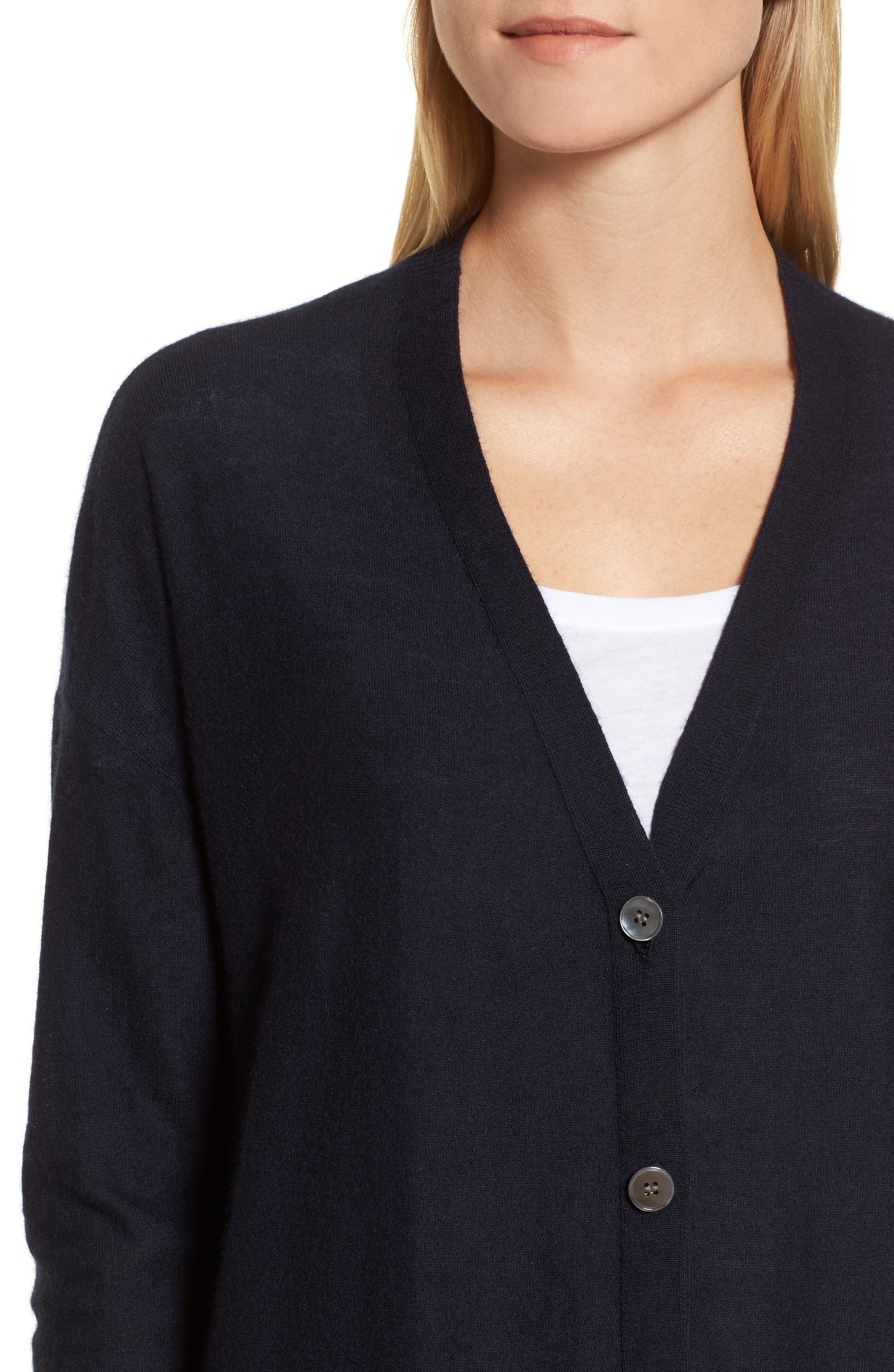 Button Front Cardigan,                             Alternate thumbnail 4, color,                             Navy Night