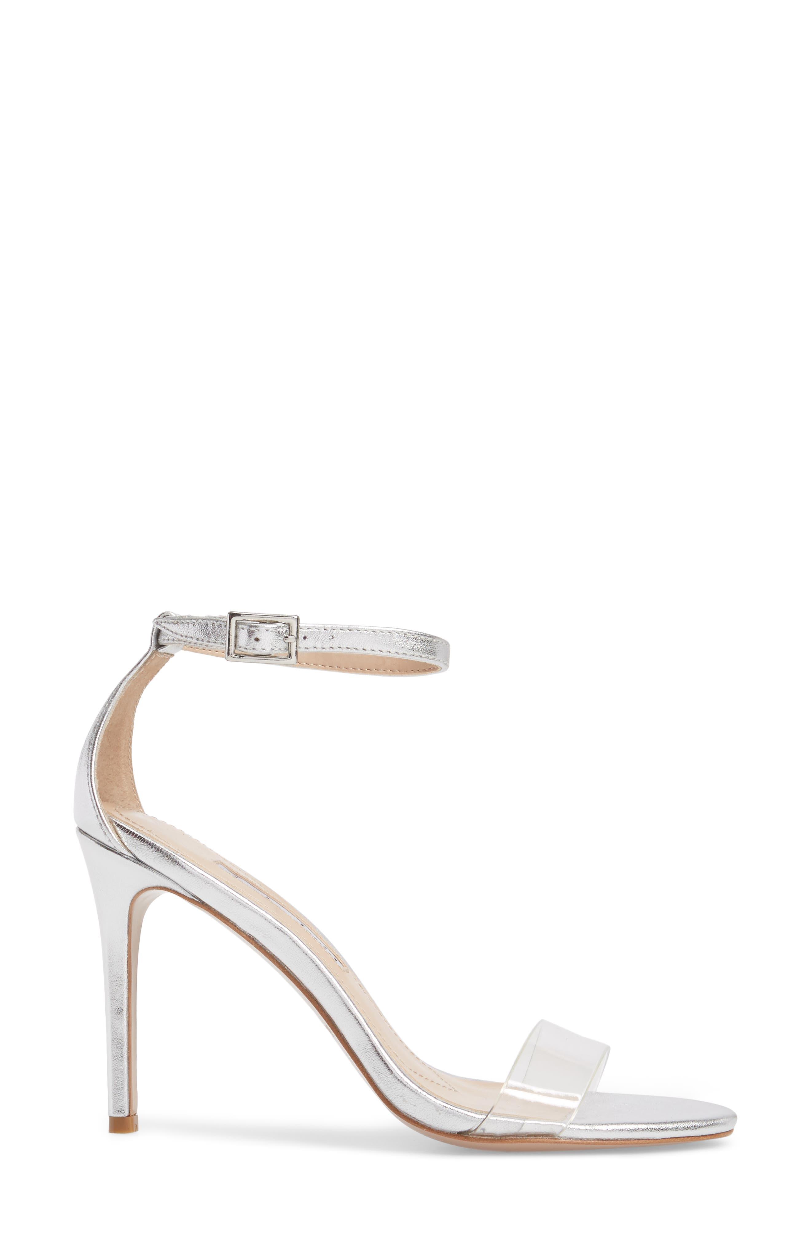 Cristal Sandal,                             Alternate thumbnail 3, color,                             Silver Metallic Leather