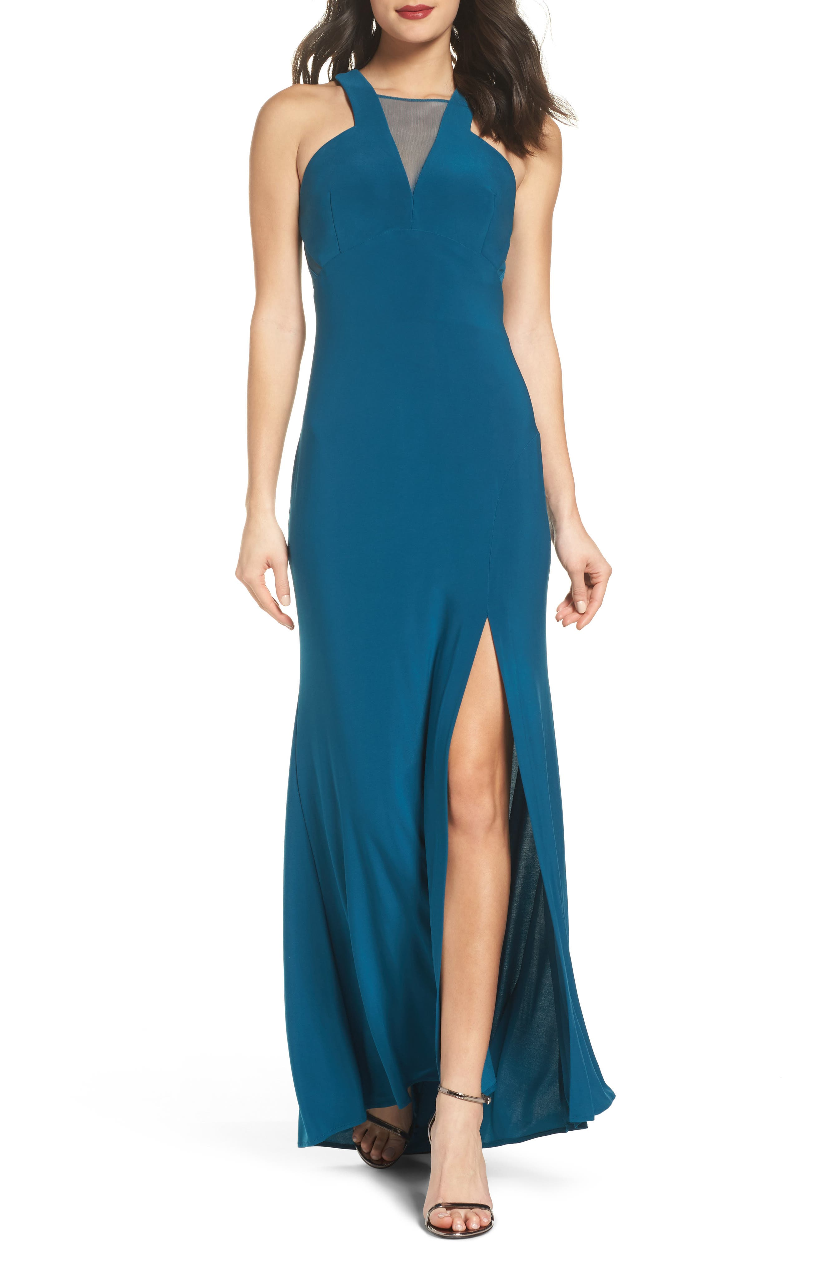 Mesh Inset Halter Gown,                         Main,                         color, Spruce