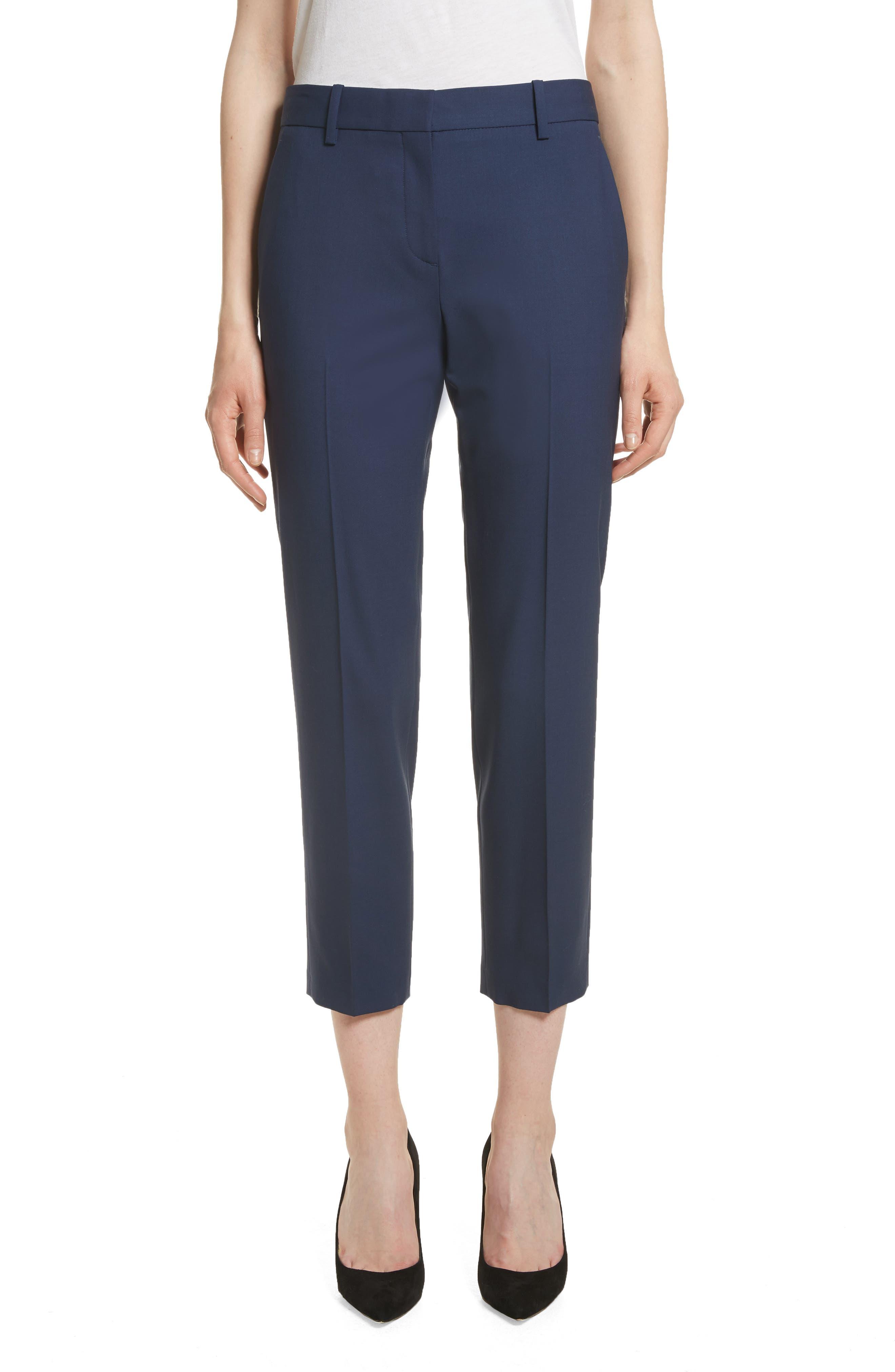 Treeca 2 Good Wool Crop Suit Pants,                         Main,                         color, Sea Blue