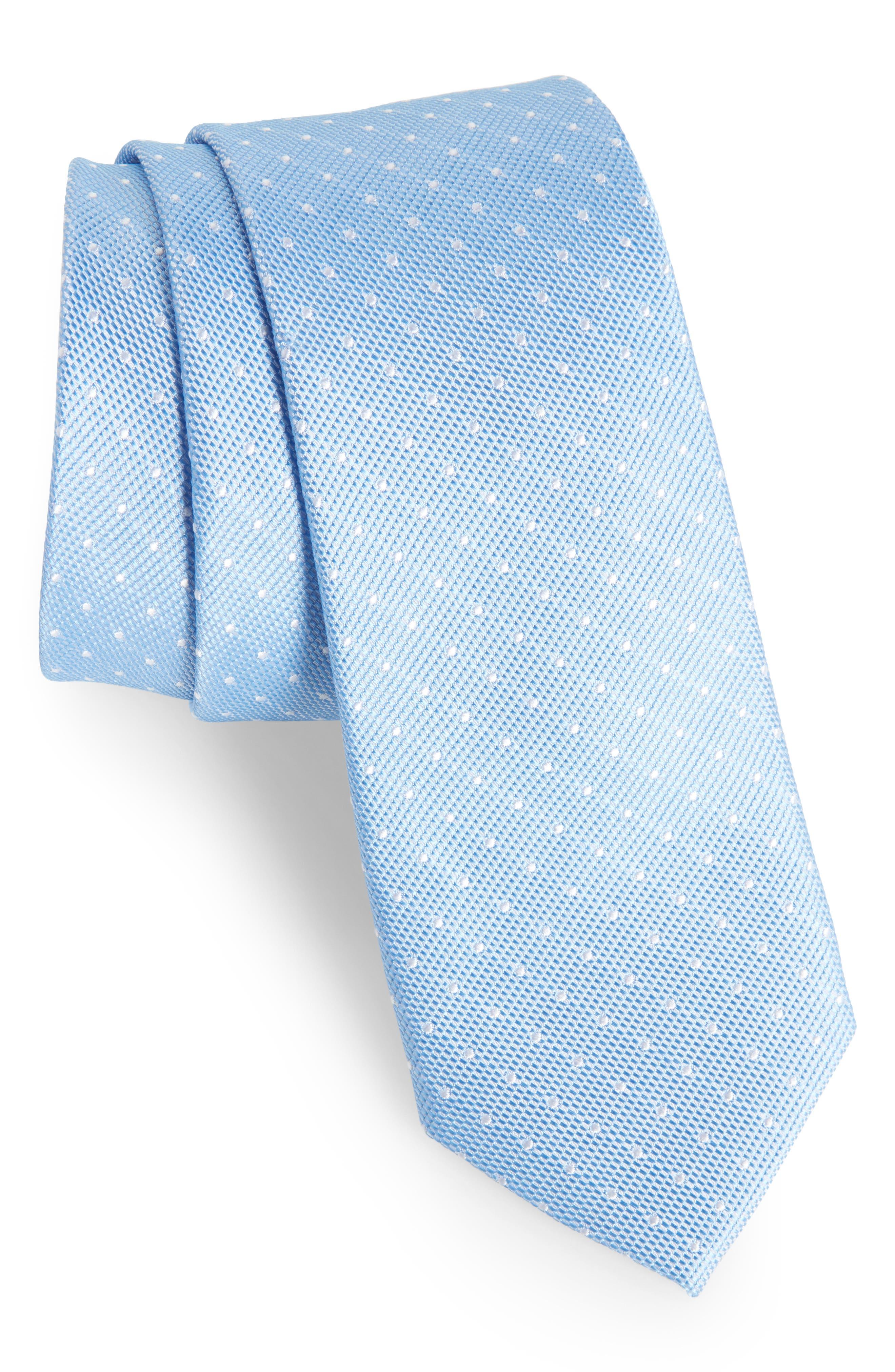 Paseo Dot Silk Skinny Tie,                         Main,                         color, Blue
