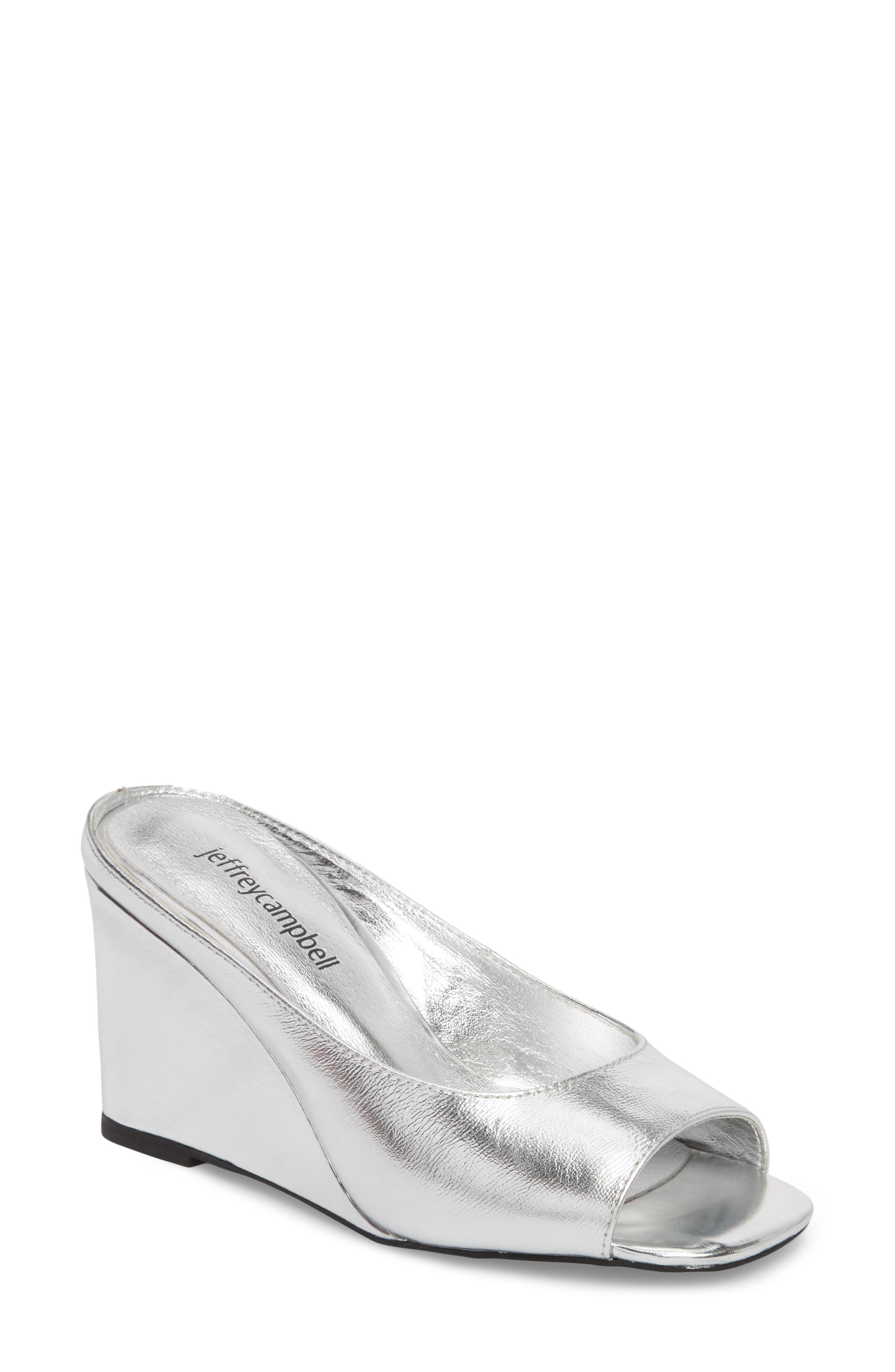 Generous Wedge Sandal,                             Main thumbnail 1, color,                             Silver Leather