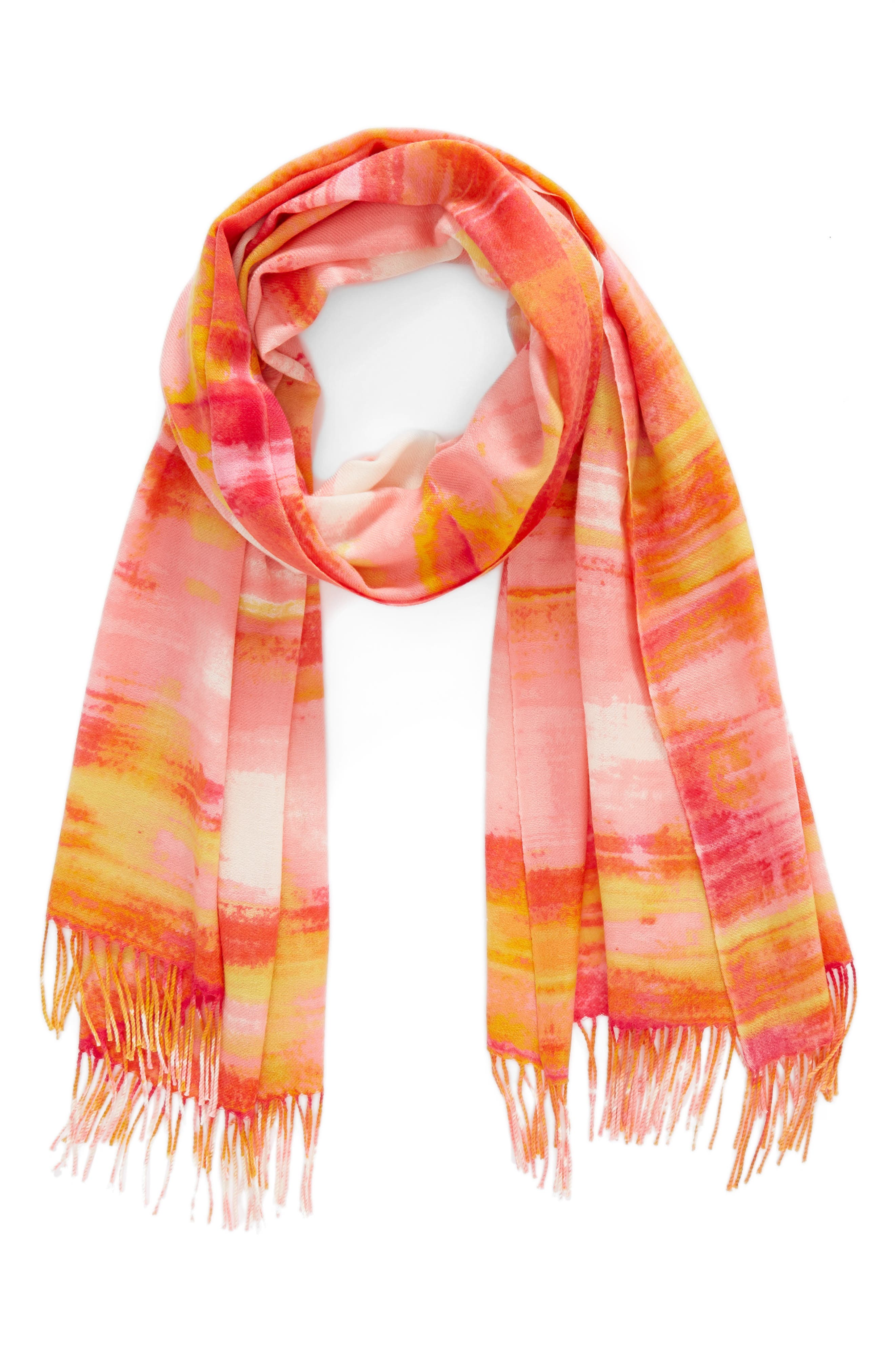 Tissue Print Wool & Cashmere Wrap Scarf,                             Alternate thumbnail 2, color,                             Pink Rainwater Plaid Print