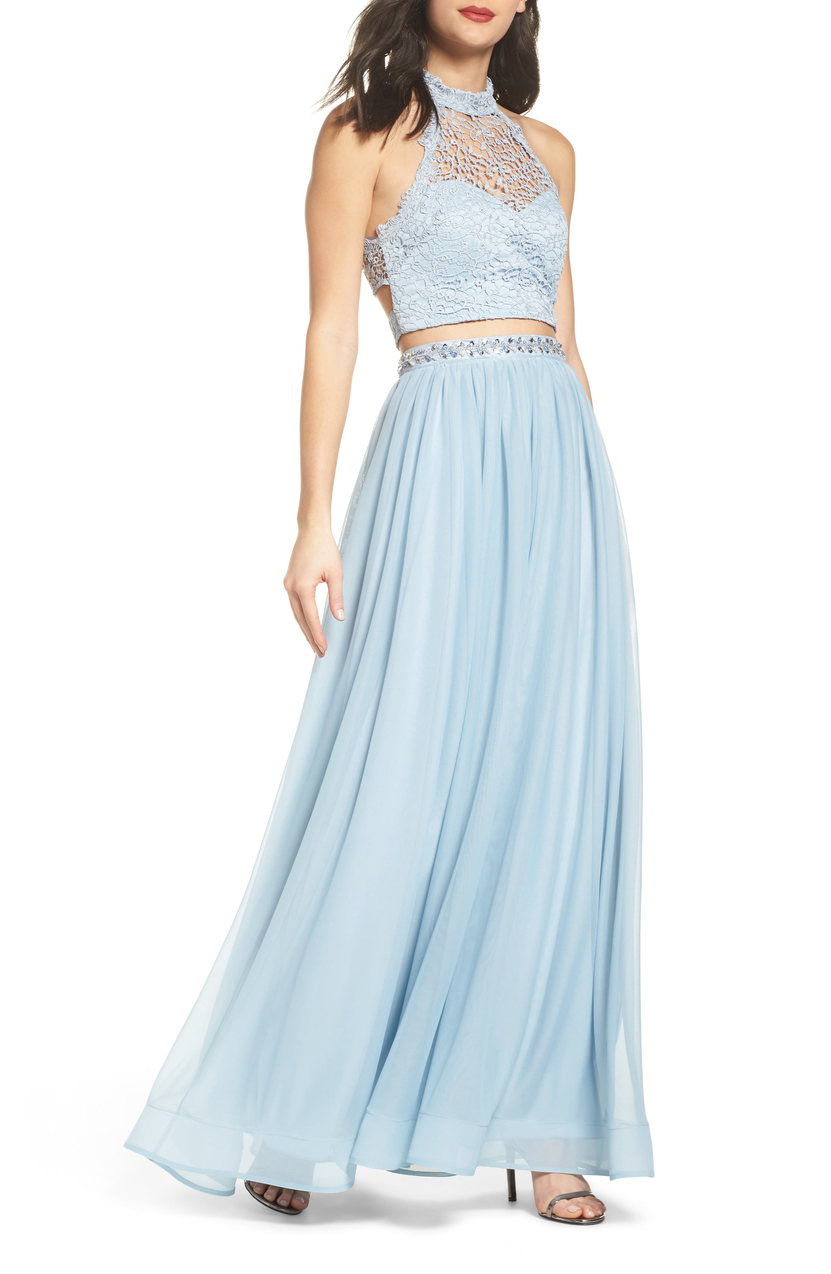 Chemical Lace Two-Piece Halter Gown,                         Main,                         color, Fairy Blue