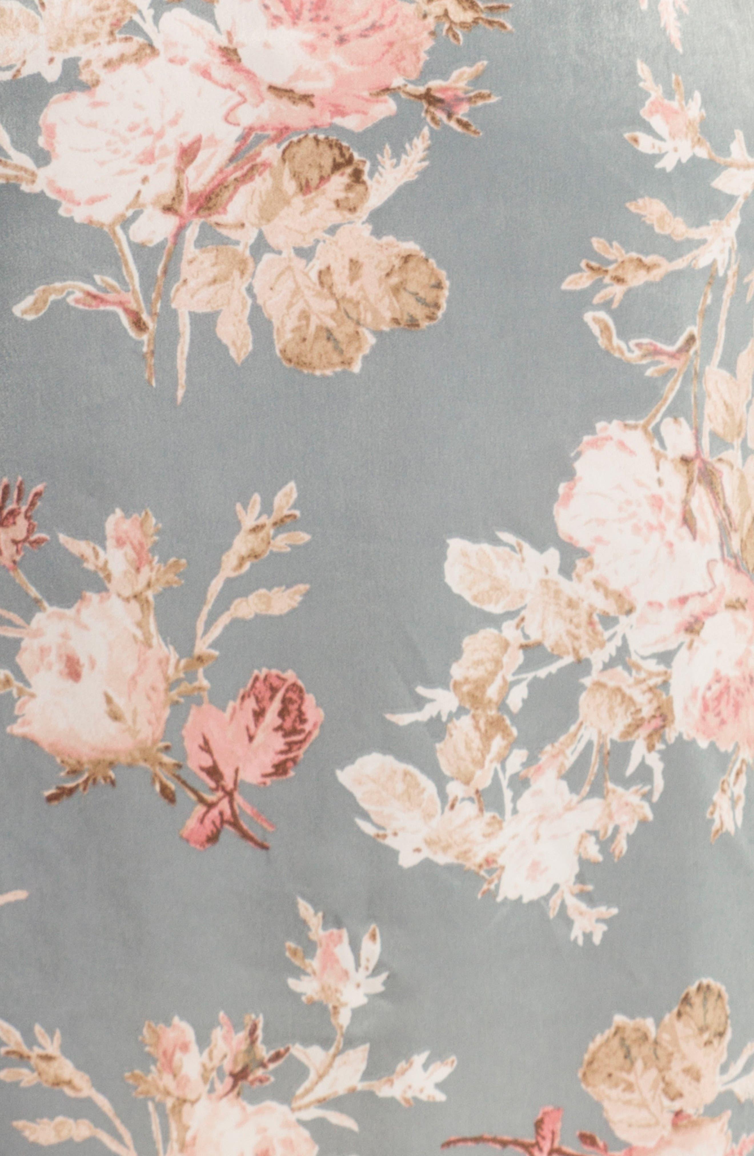 Satin Kimono Robe,                             Alternate thumbnail 4, color,                             Rose Print