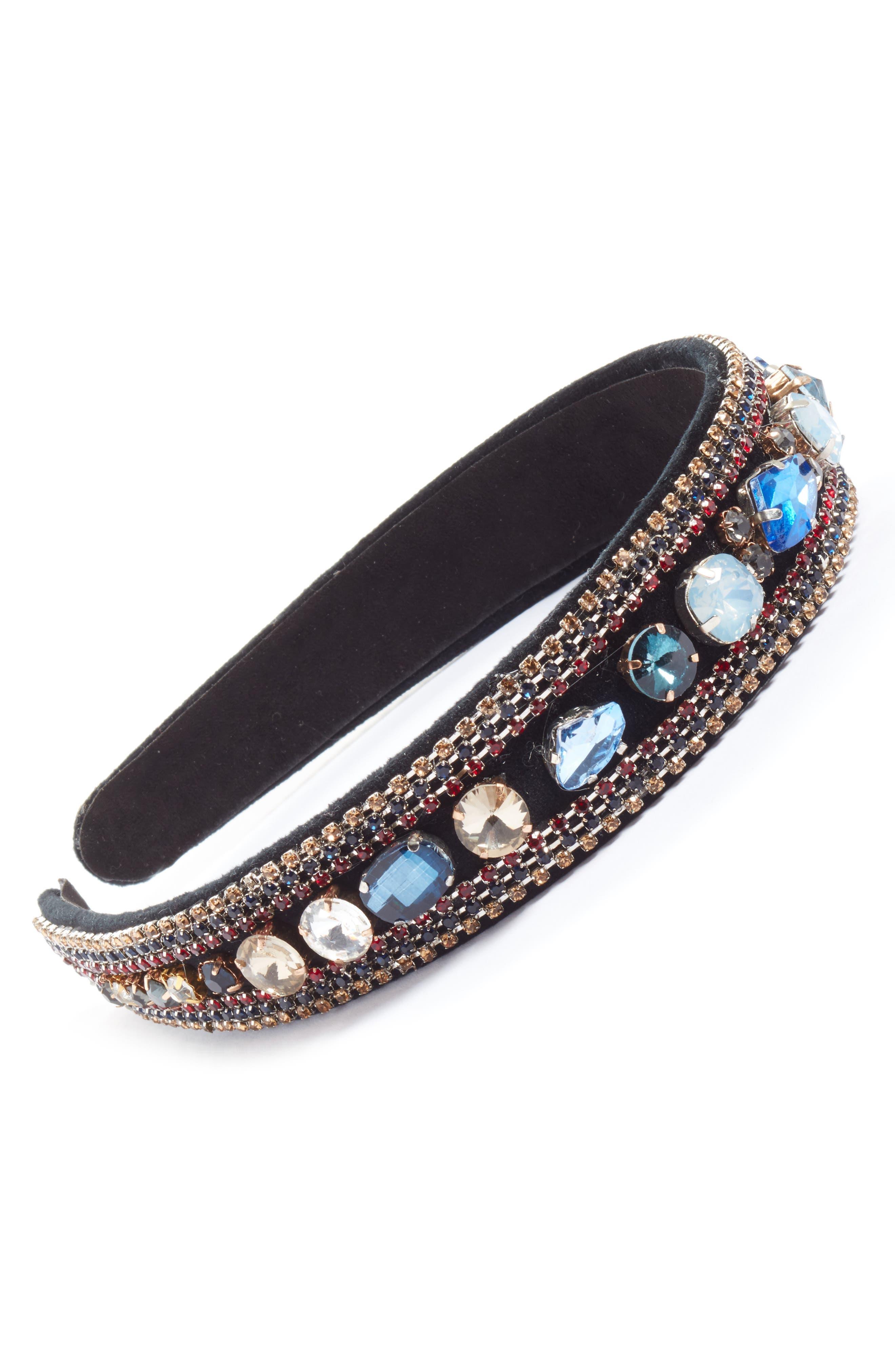 Chunky Crystal Embellished Headband,                             Main thumbnail 1, color,                             Blue Multi