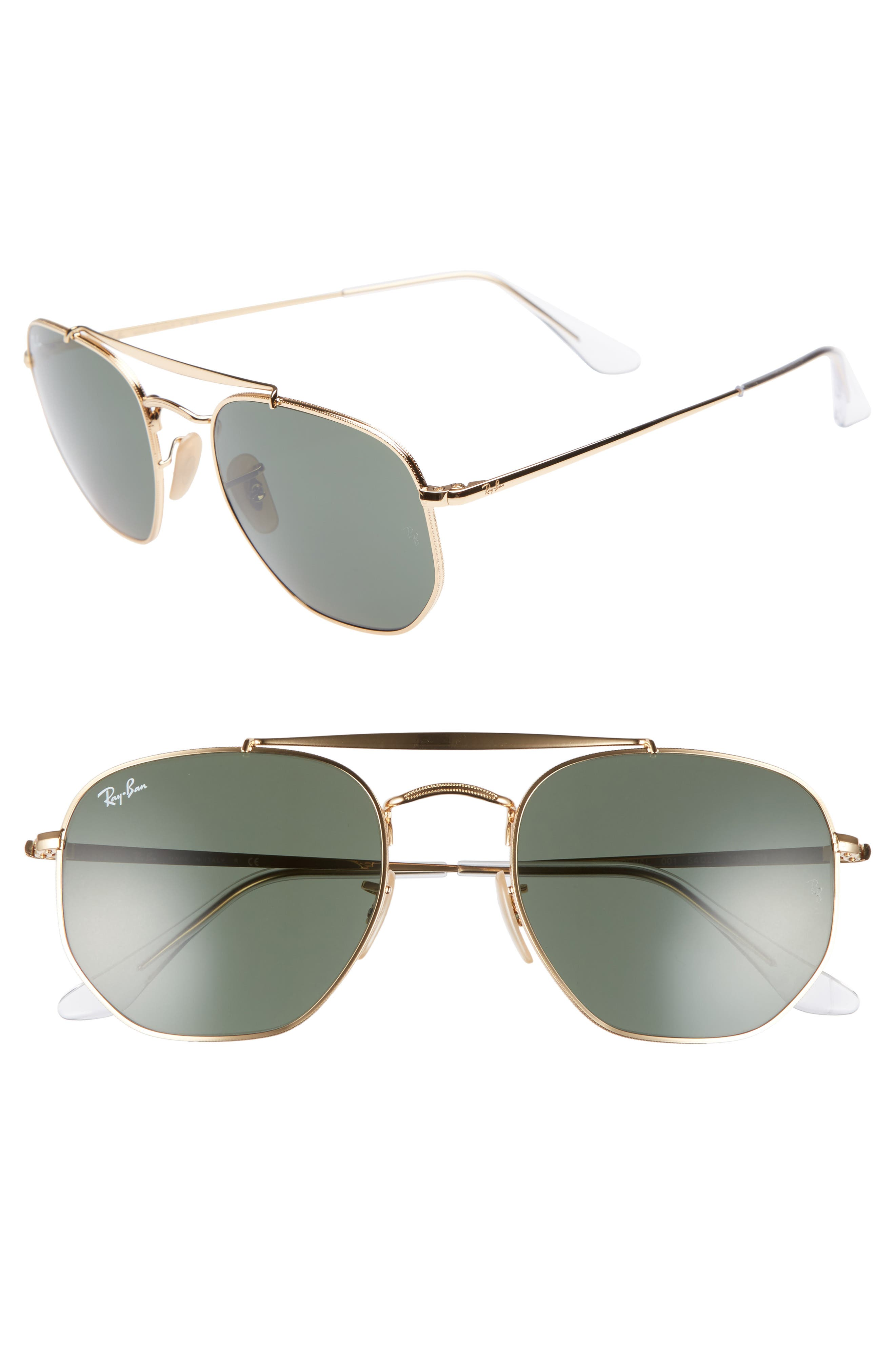 Marshal 54mm Aviator Sunglasses,                         Main,                         color, Gold/ Green