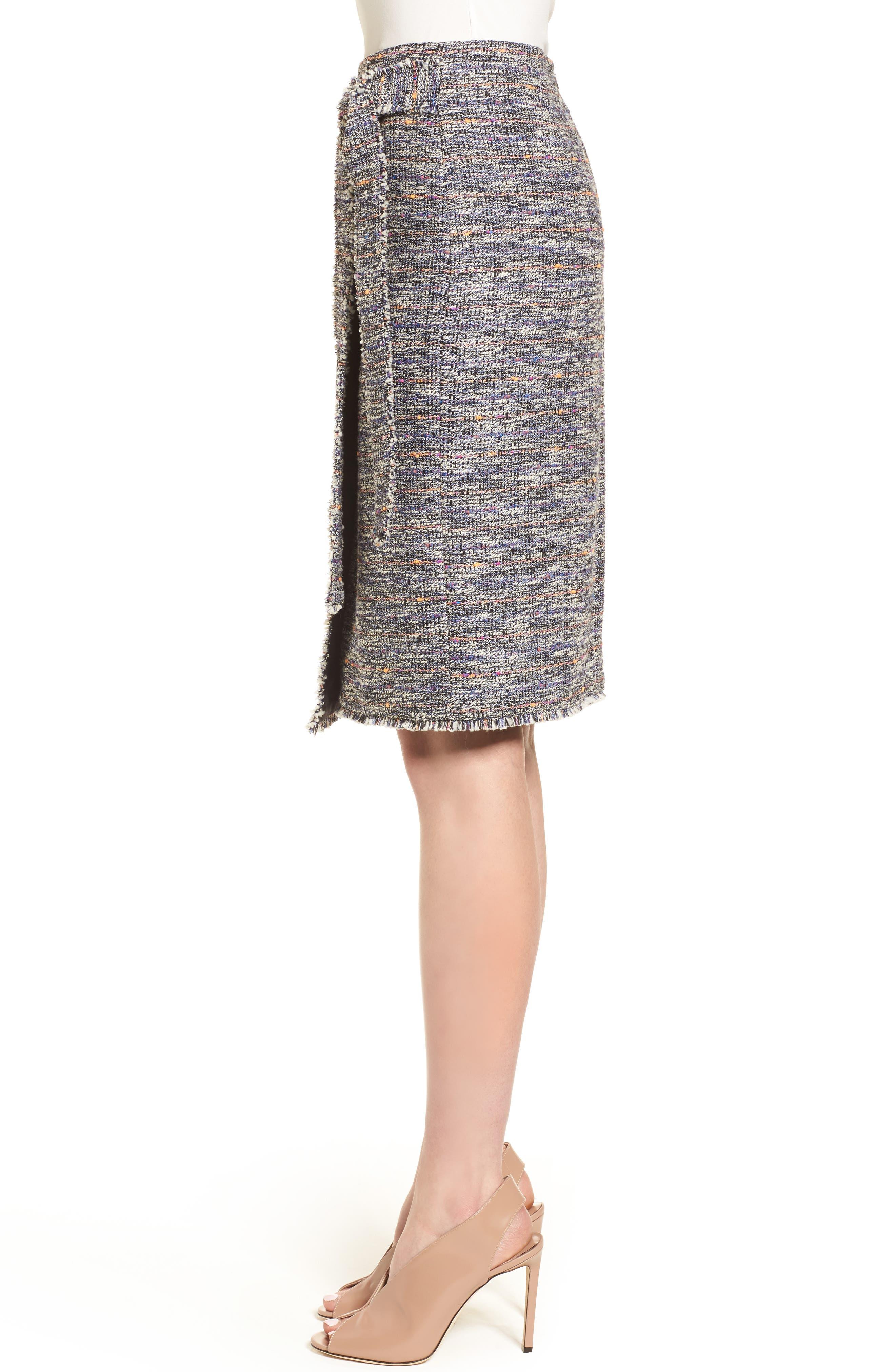 Tie Detail Pencil Skirt,                             Alternate thumbnail 3, color,                             Black Multi Tweed