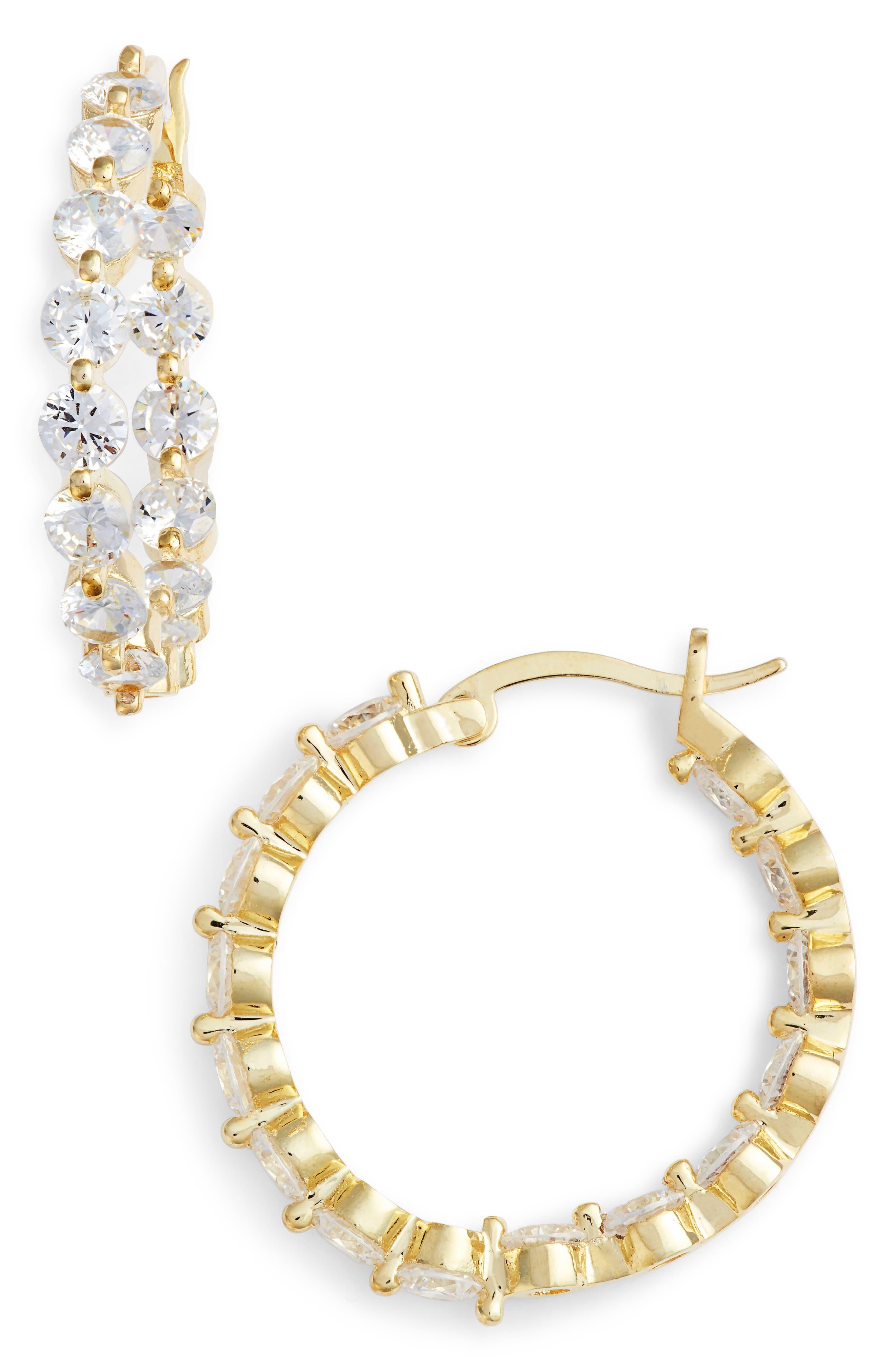 Medium Cubic Zirconia Hoop Earrings,                             Main thumbnail 1, color,                             Gold/ White Cz