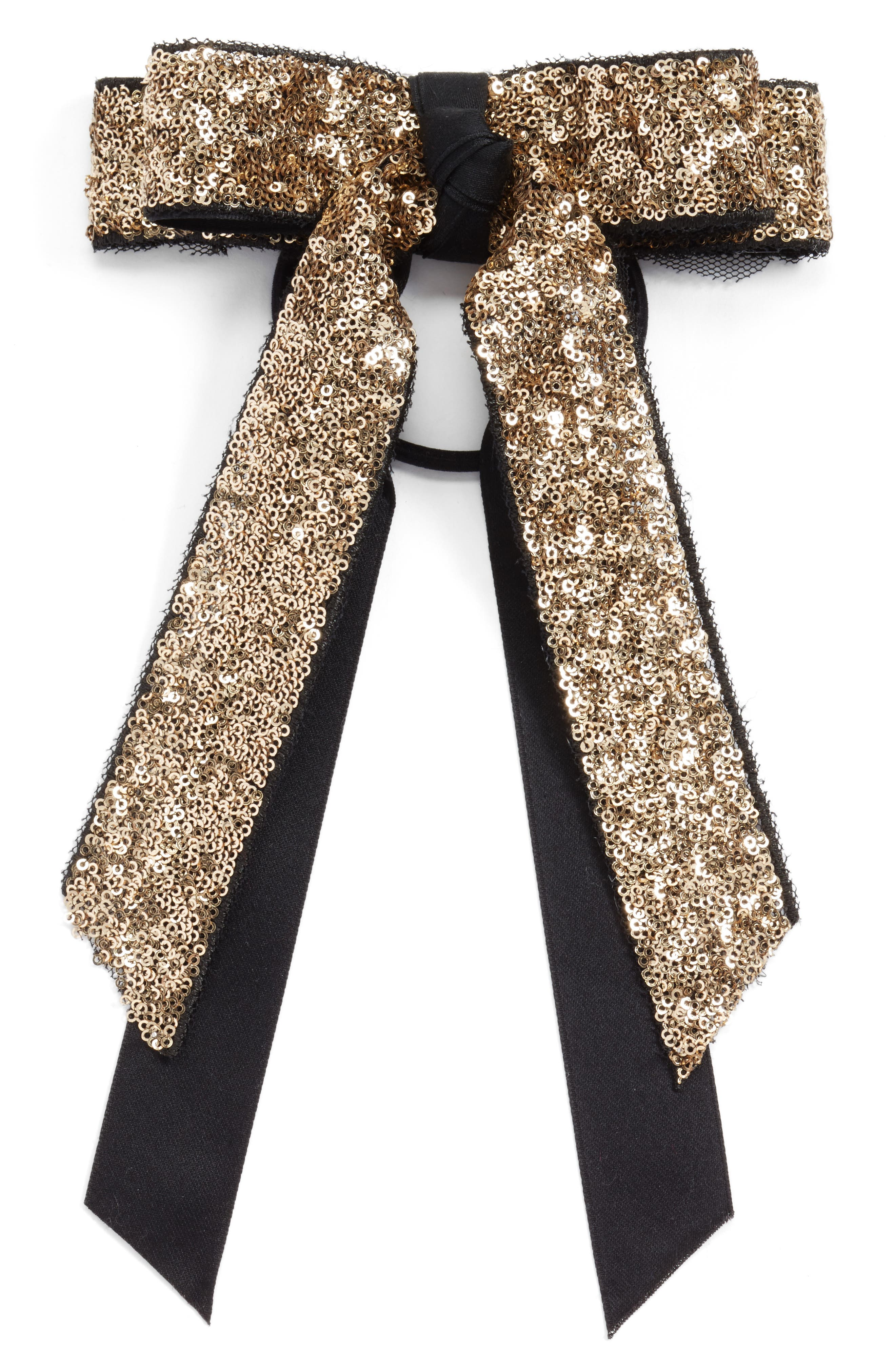 Cara Sequin Bow Ponytail Holder