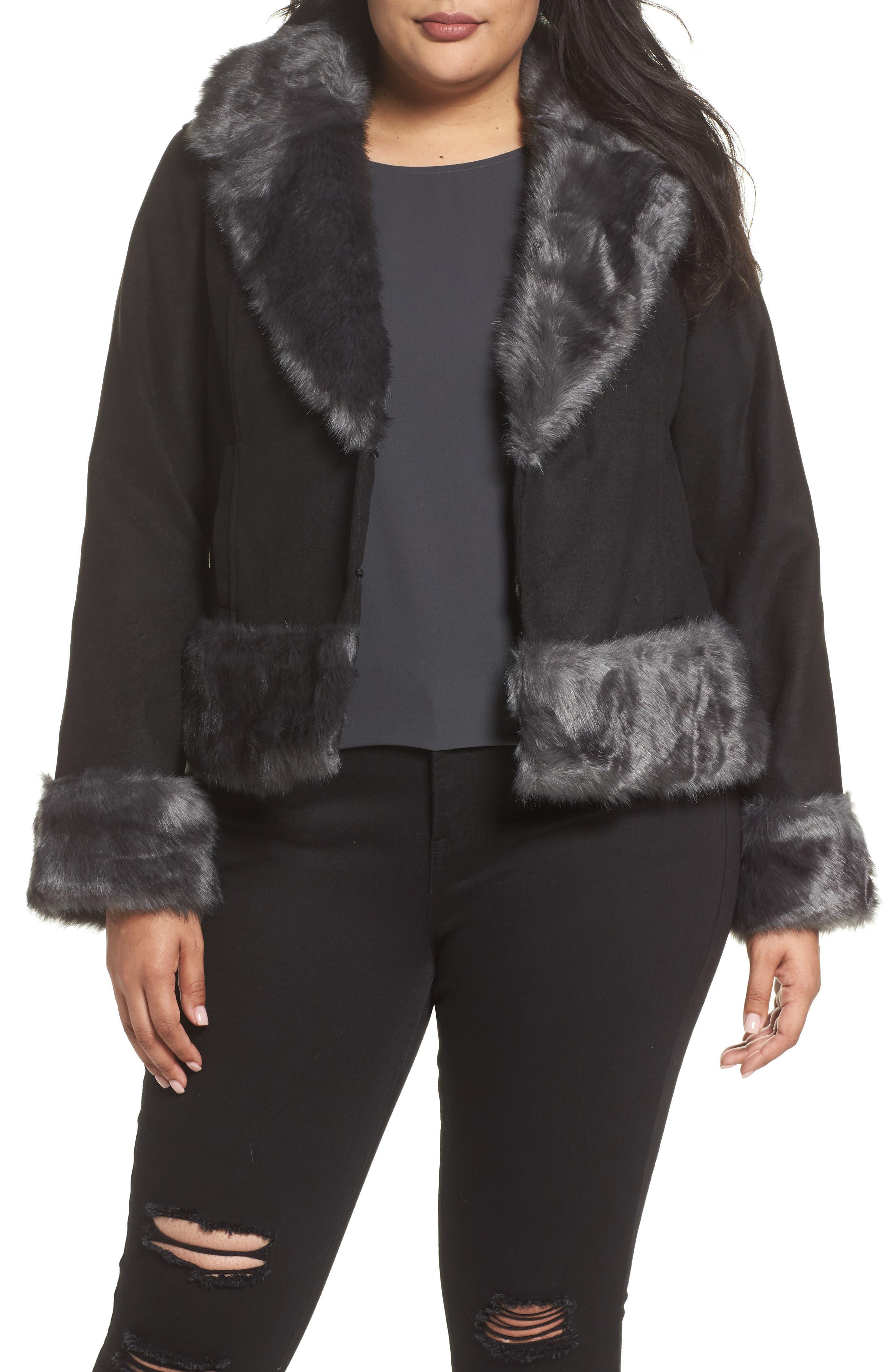 Jacket with Faux Fur Trim,                         Main,                         color, Black