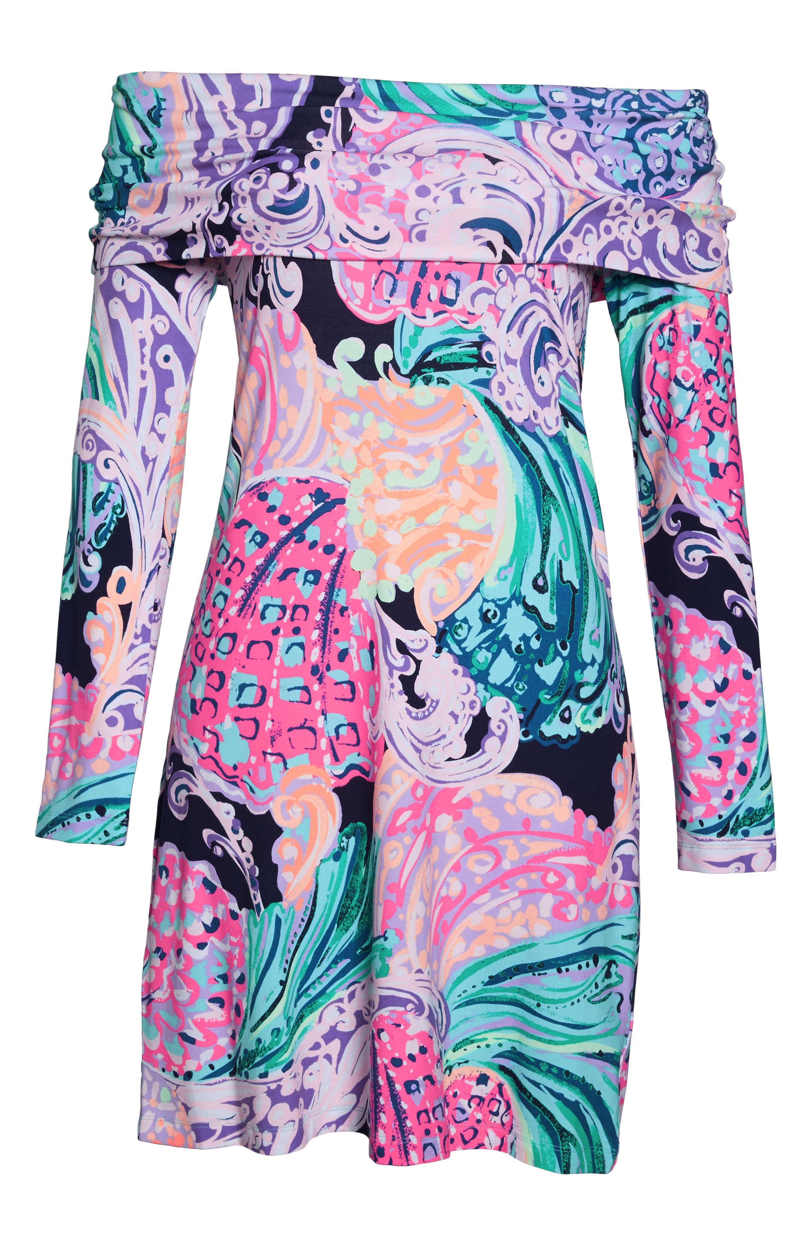Trisha Off the Shoulder Dress,                             Alternate thumbnail 6, color,                             Multi All That She Wants