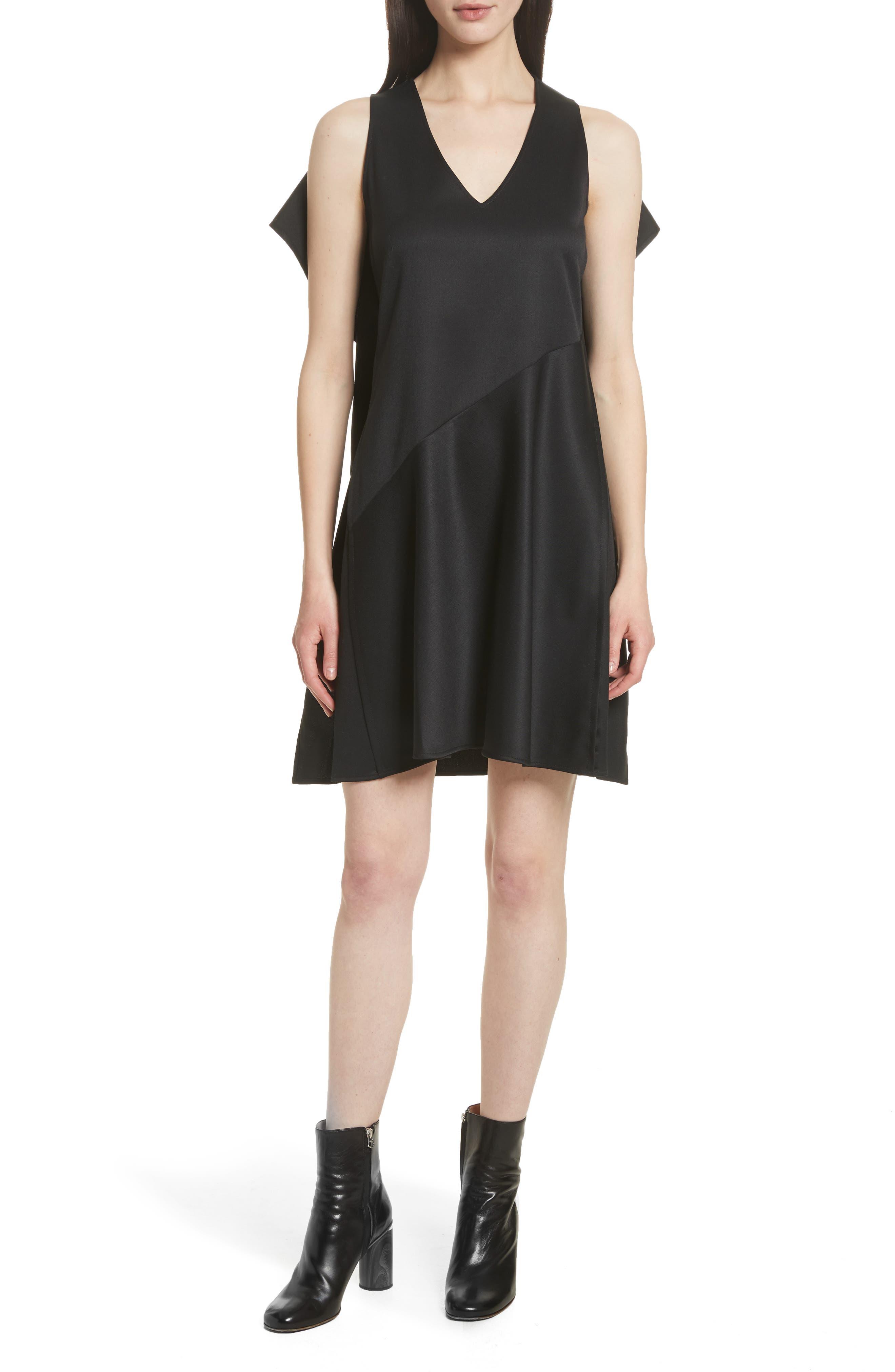 Ruffle Back Twill Dress,                             Main thumbnail 1, color,                             Black