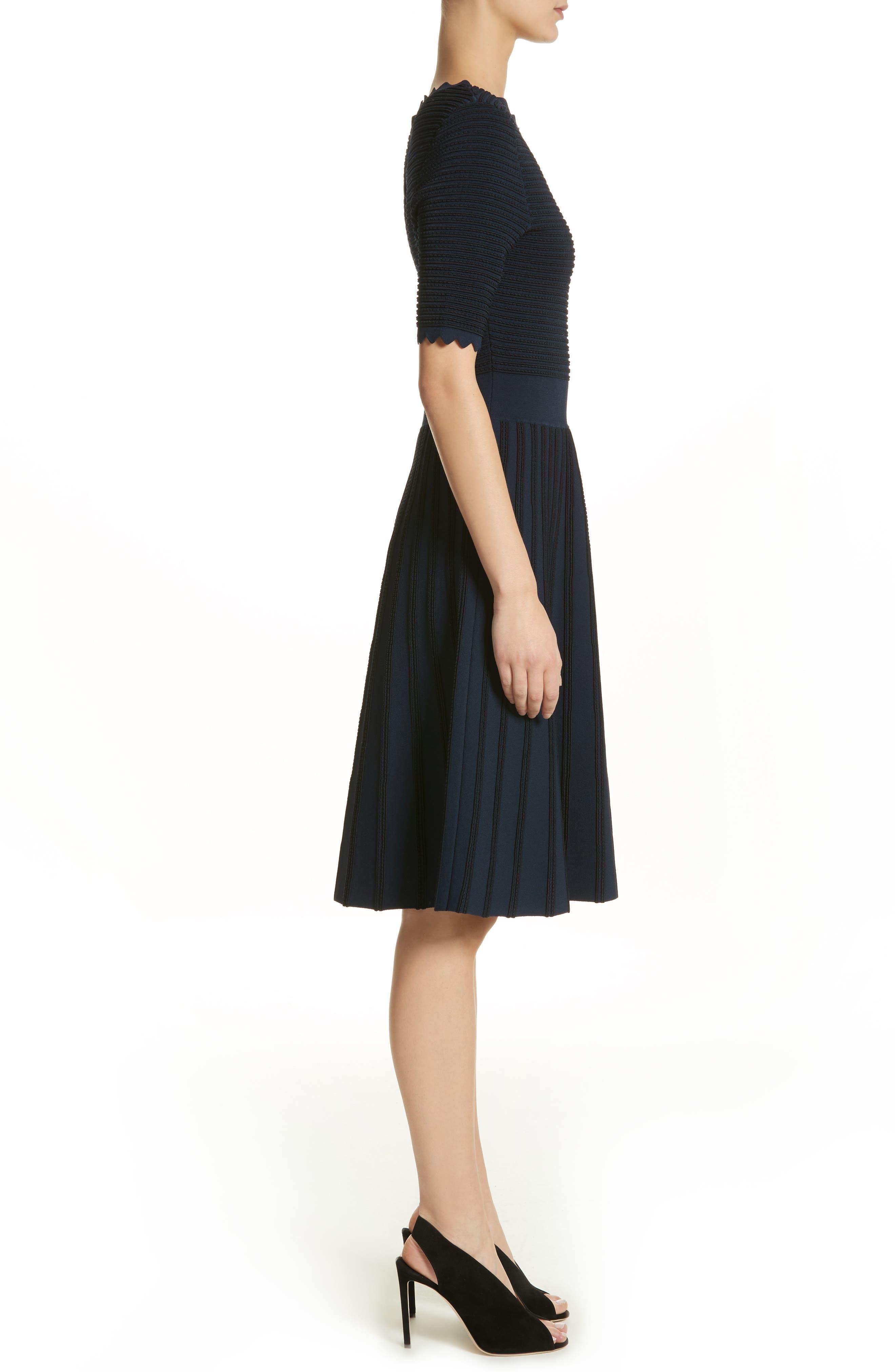 Scallop Trim Stripe Dress,                             Alternate thumbnail 4, color,                             Navy