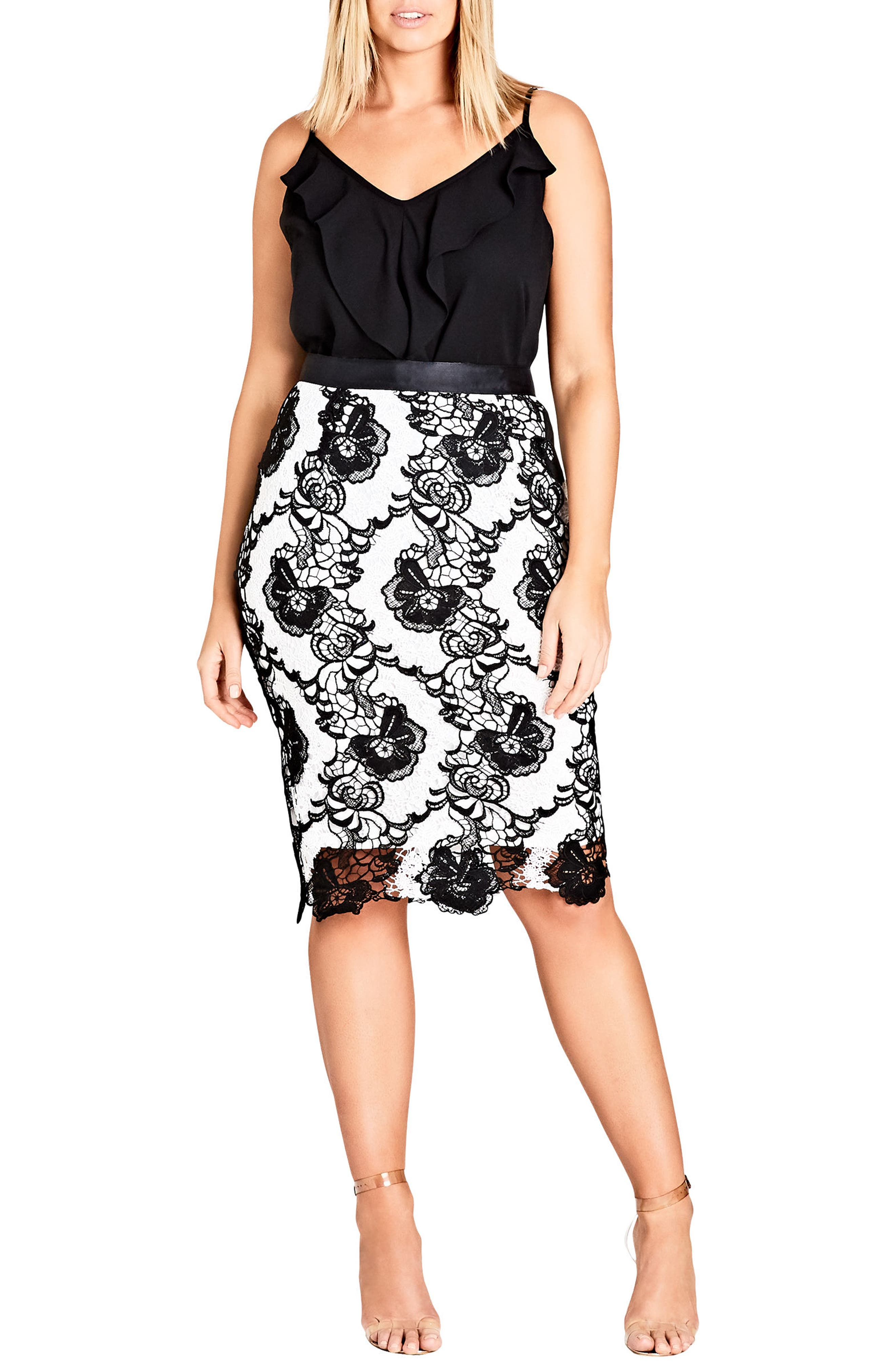 Alternate Image 1 Selected - City Chic Cha Cha Floral Embroidered Skirt (Plus Size)