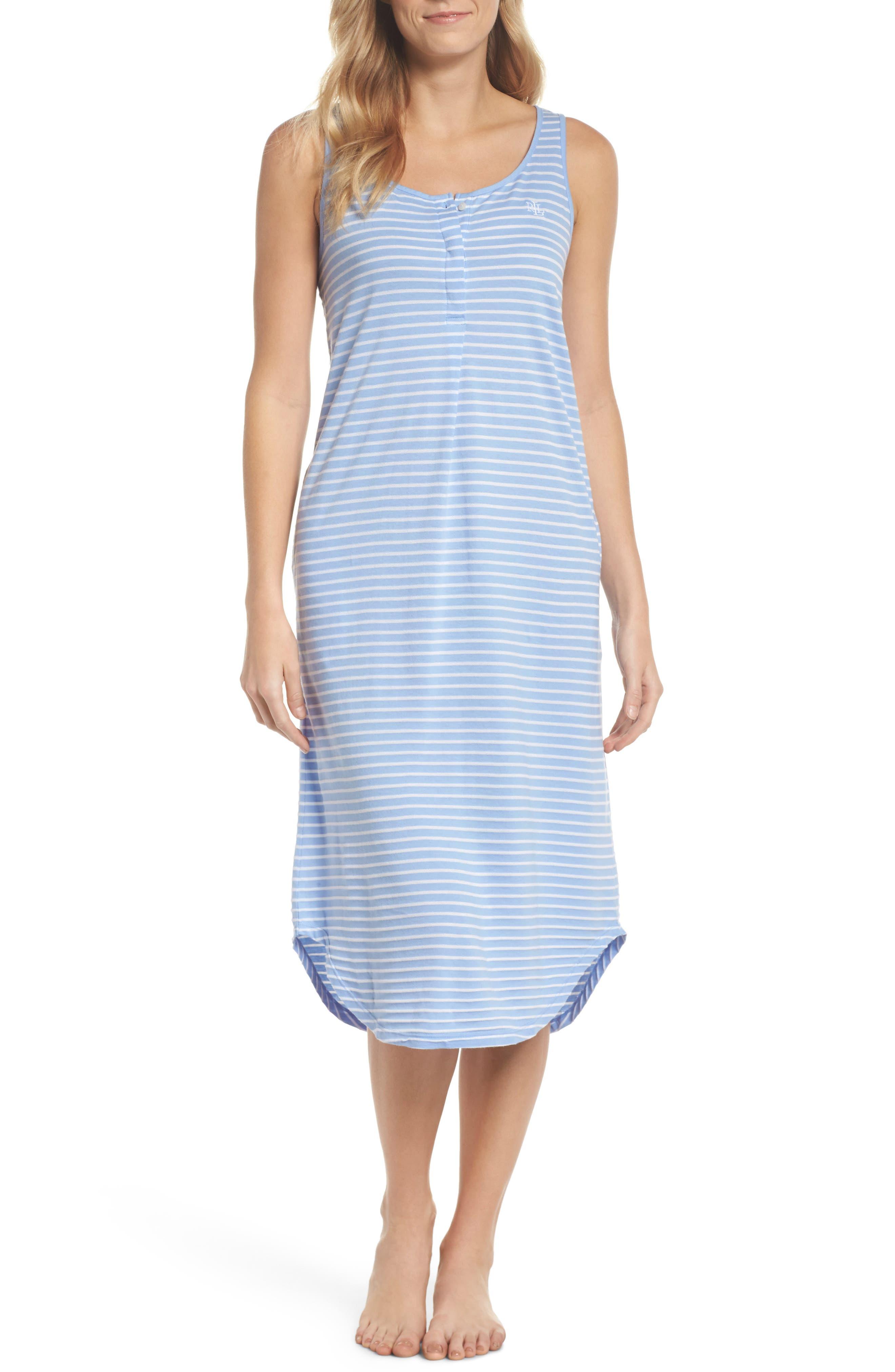Piqué Cotton Ballet Gown,                             Main thumbnail 1, color,                             Blue Stripe