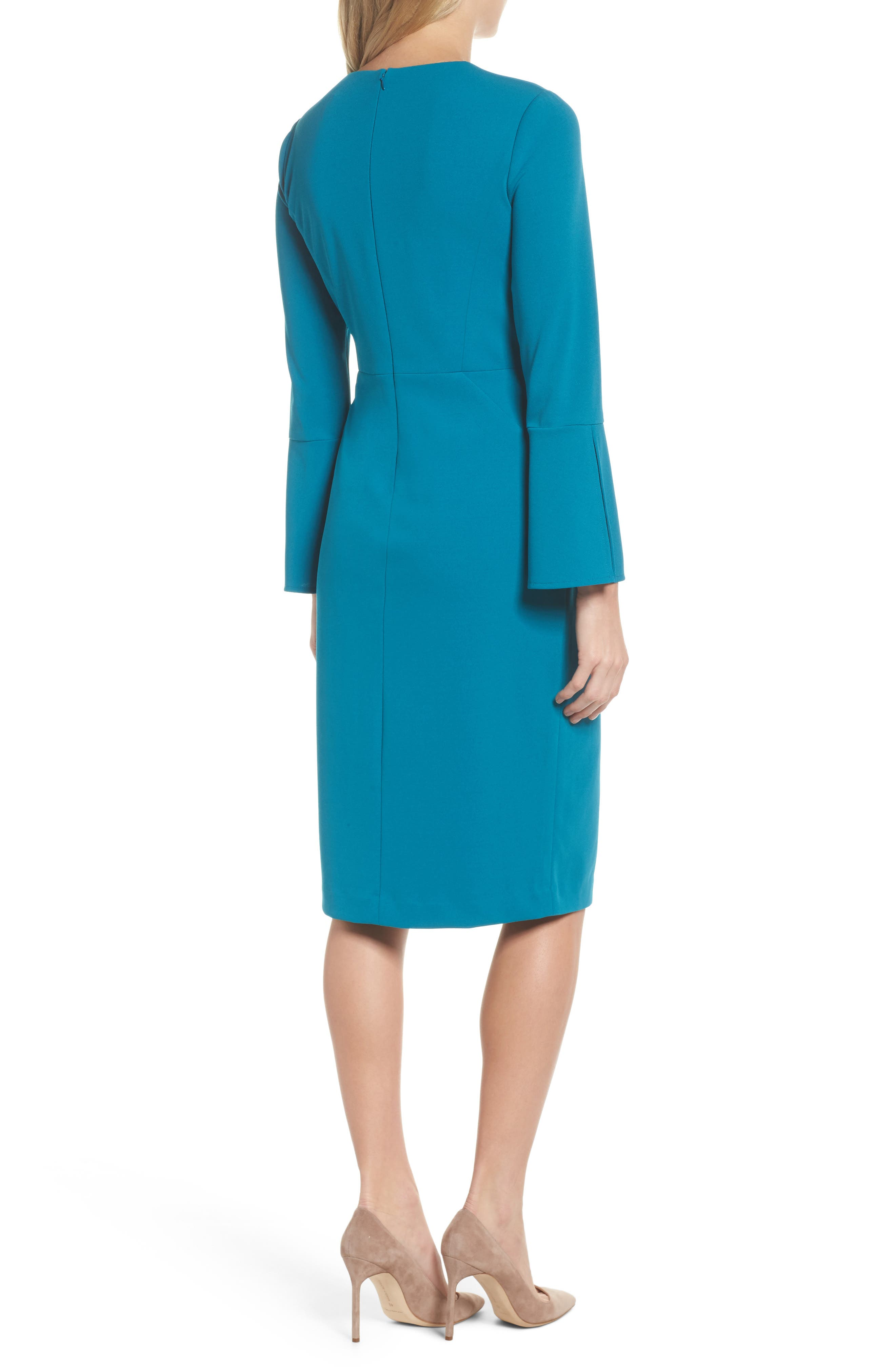 Bell Sleeve Sheath Dress,                             Alternate thumbnail 2, color,                             Teal