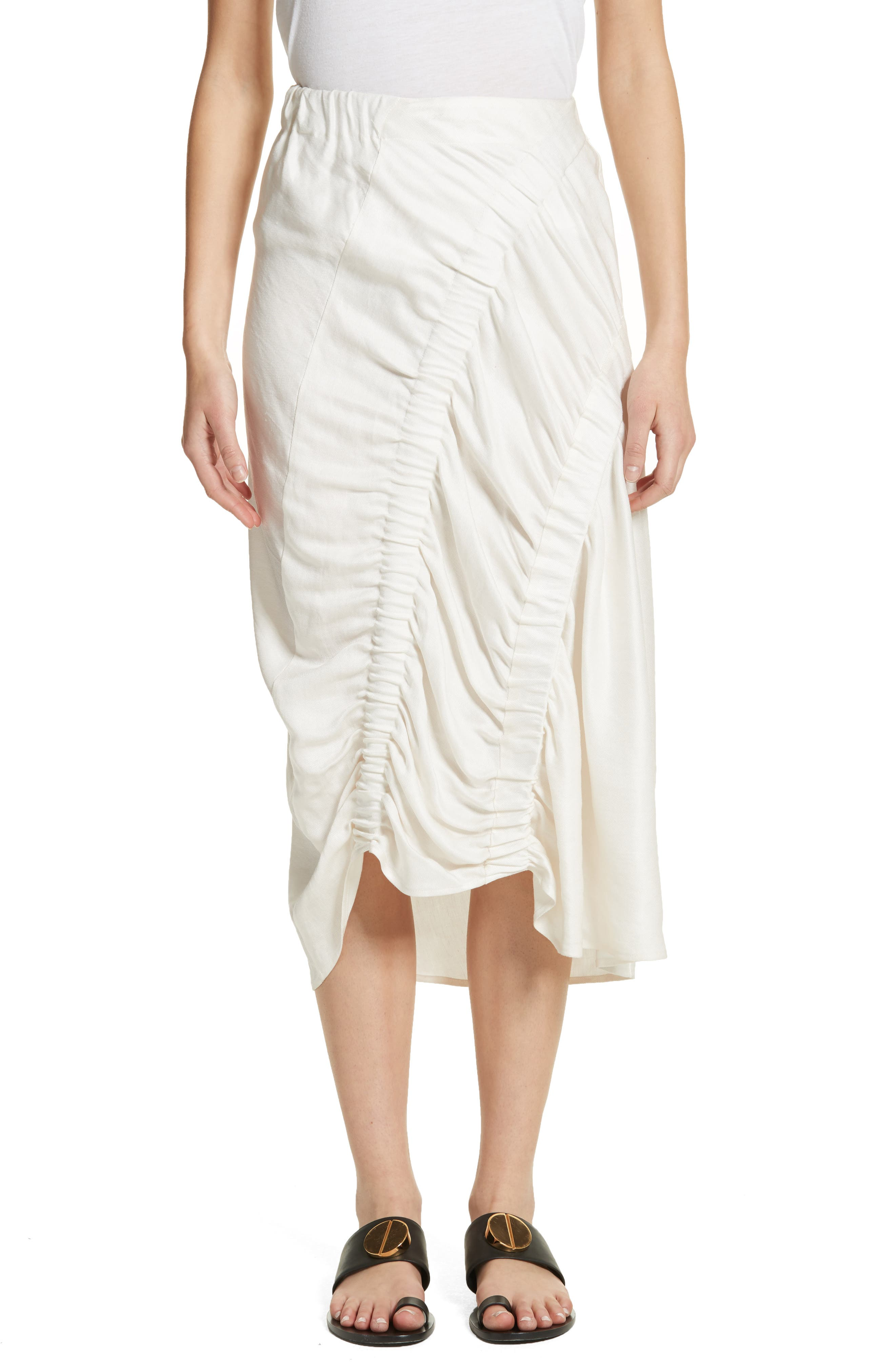 Ruched Drape Skirt,                         Main,                         color, White Pepper