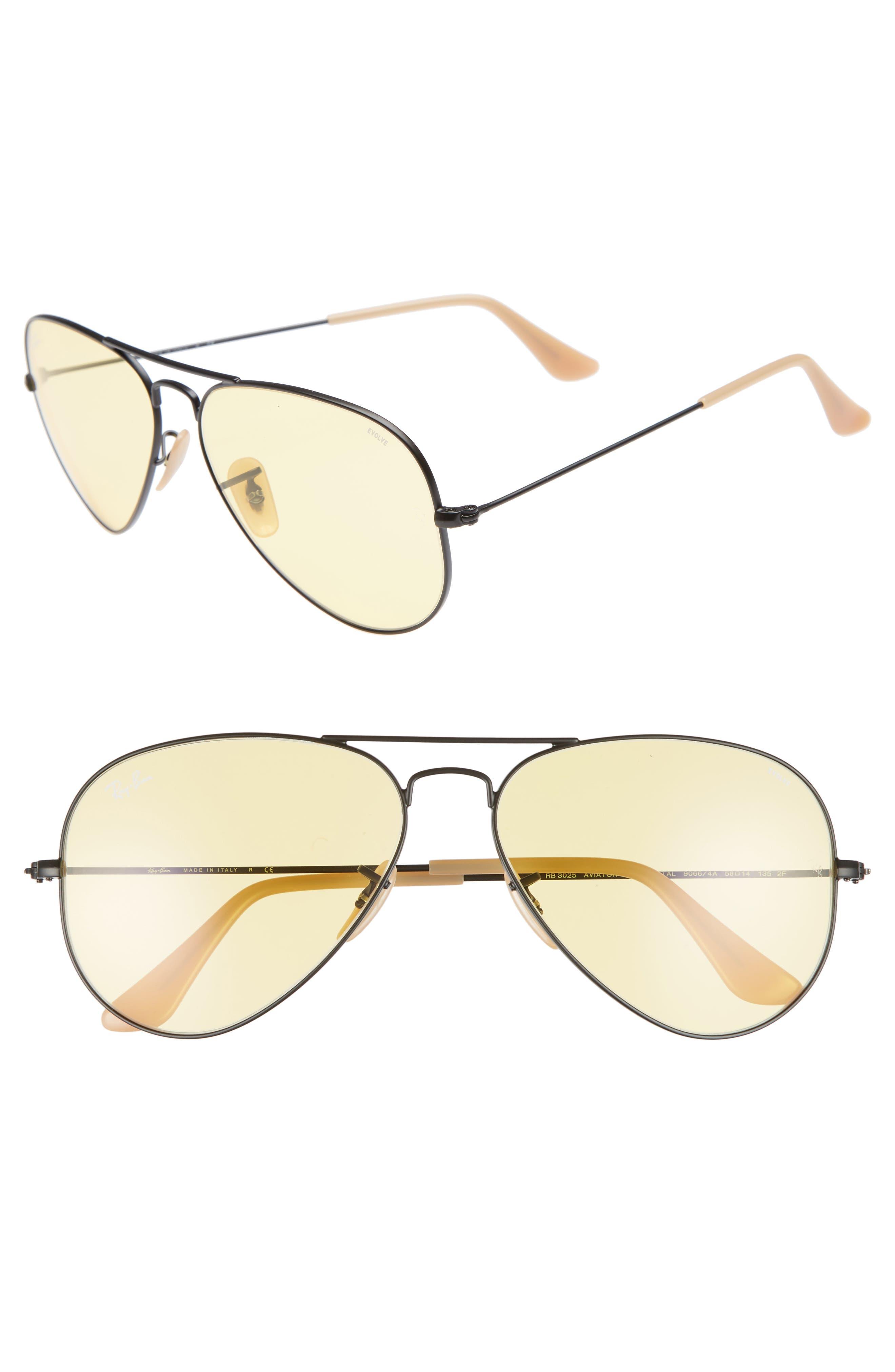 Evolve 58mm Polarized Aviator Sunglasses,                             Main thumbnail 1, color,                             Black