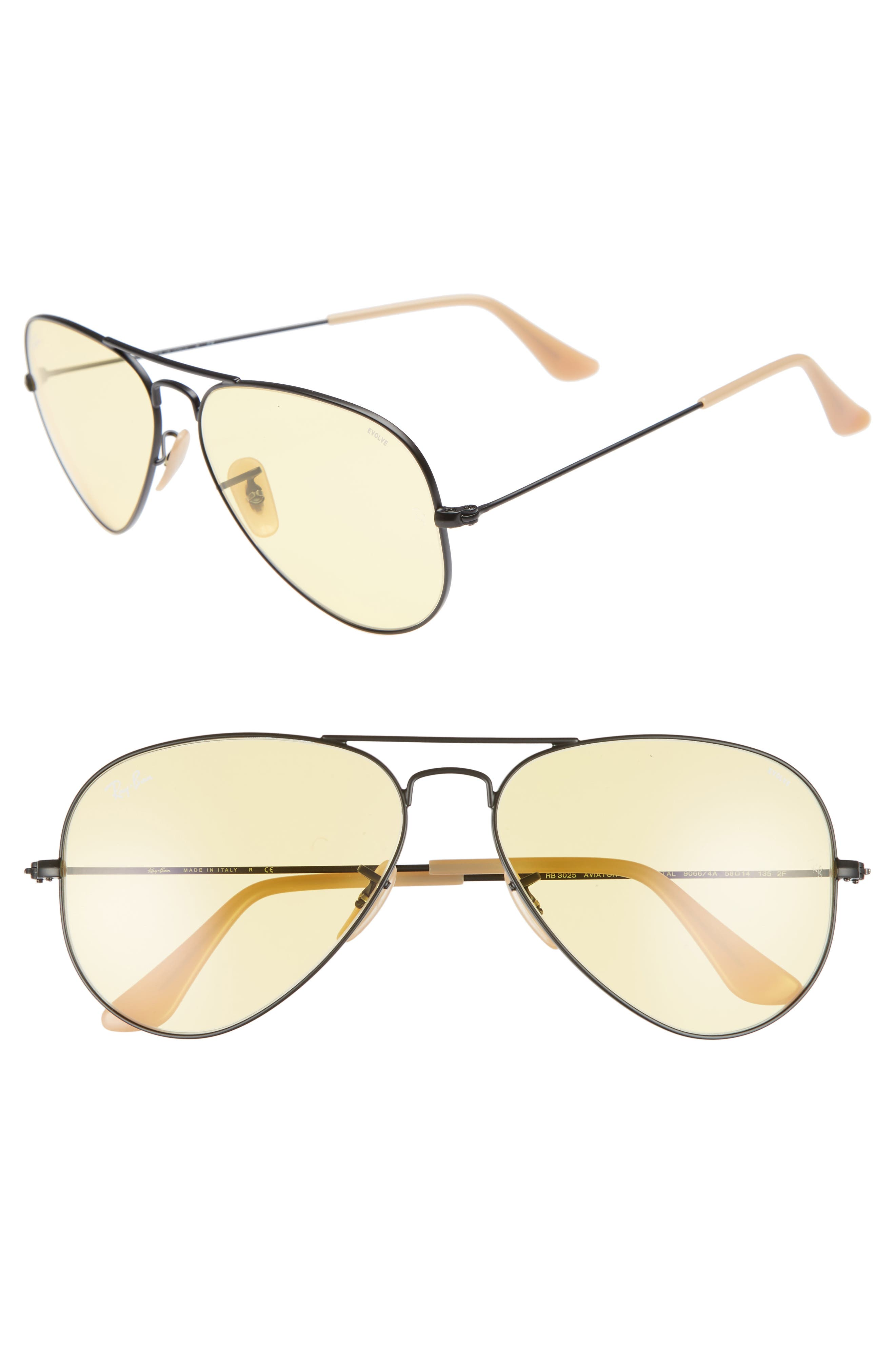 Evolve 58mm Polarized Aviator Sunglasses,                         Main,                         color, Black