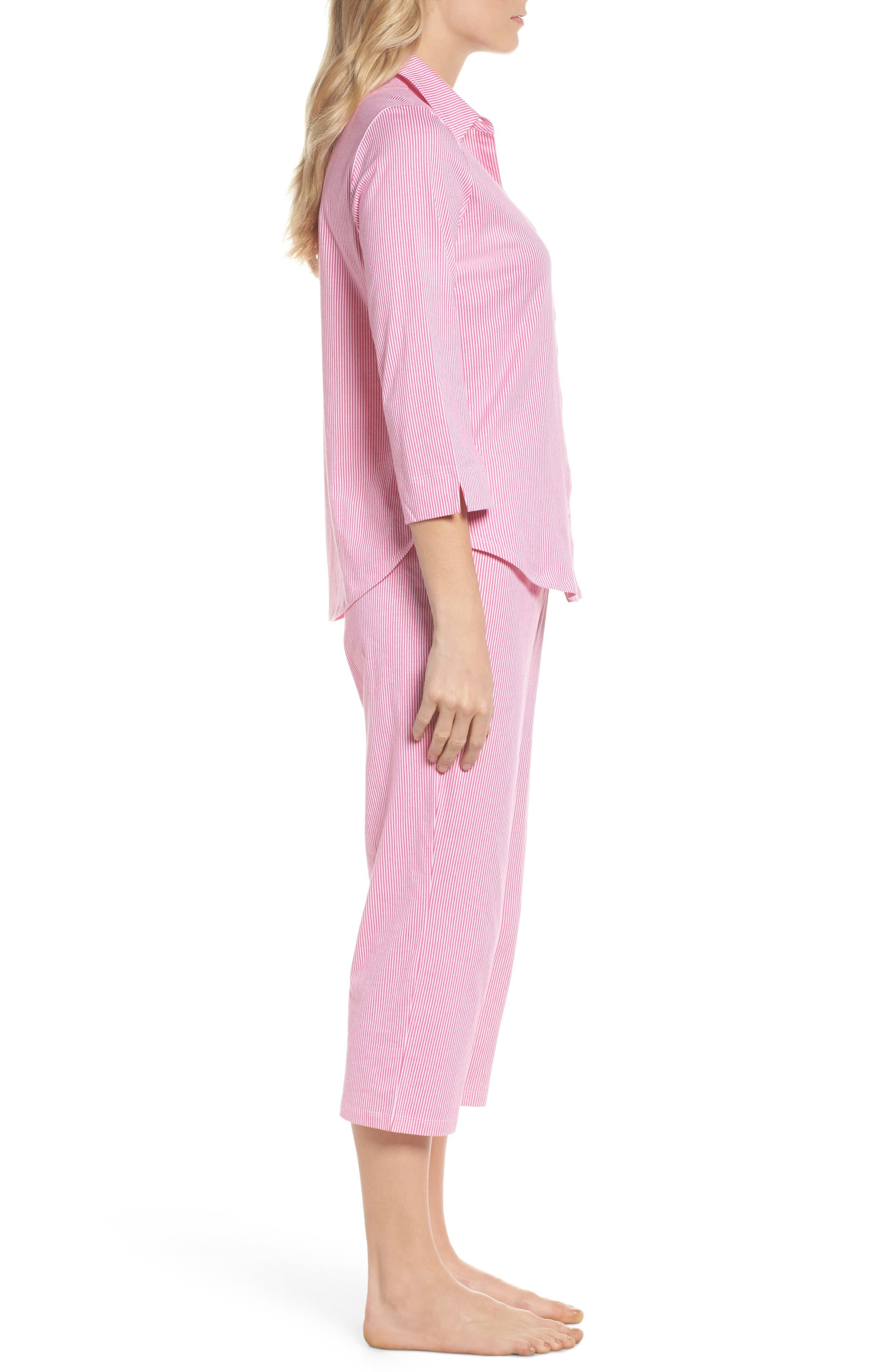 Crop Pajamas,                             Alternate thumbnail 3, color,                             Pink Stripe