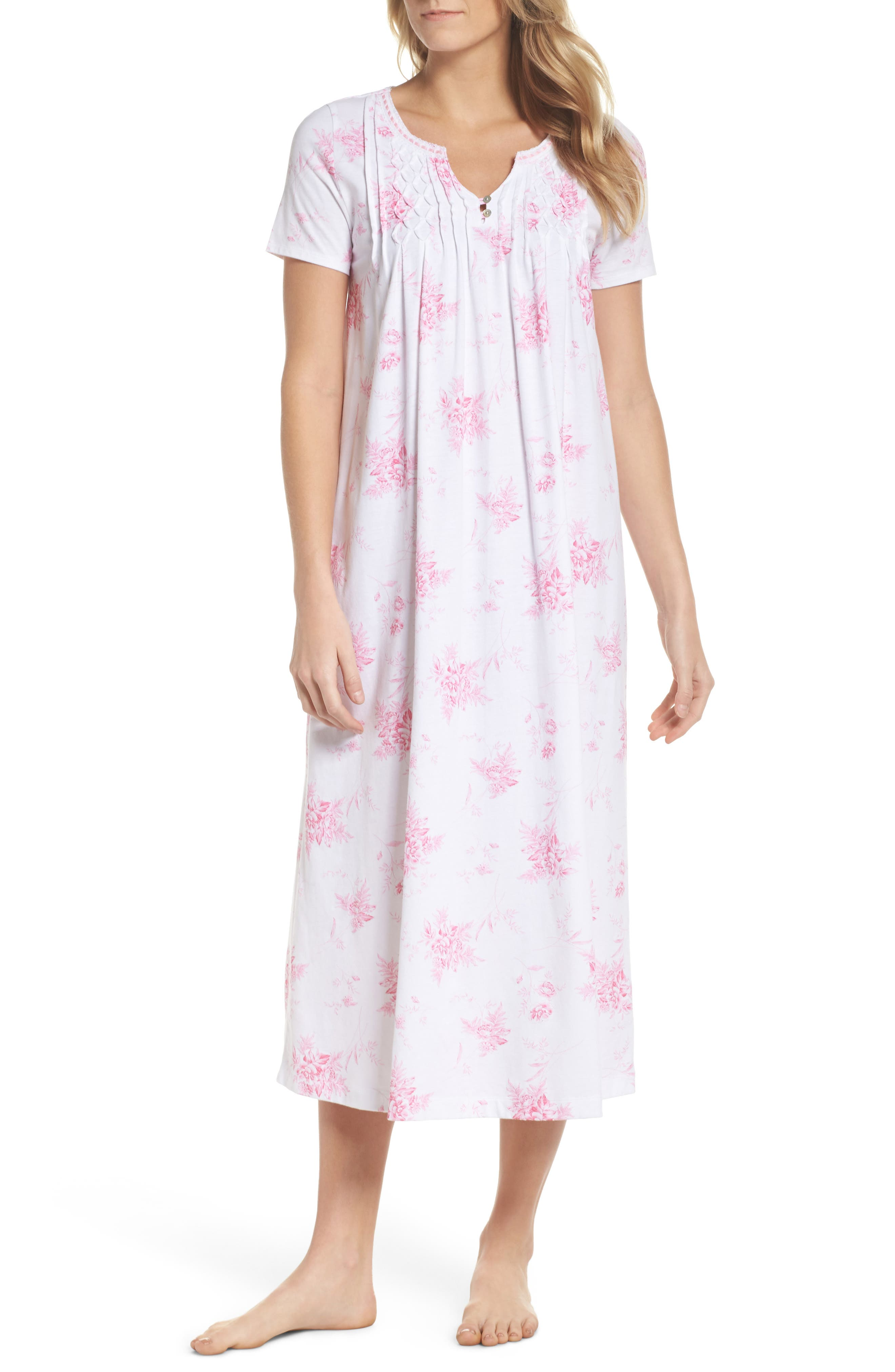Cotton Jersey Long Nightgown,                         Main,                         color, Bouquet Swing