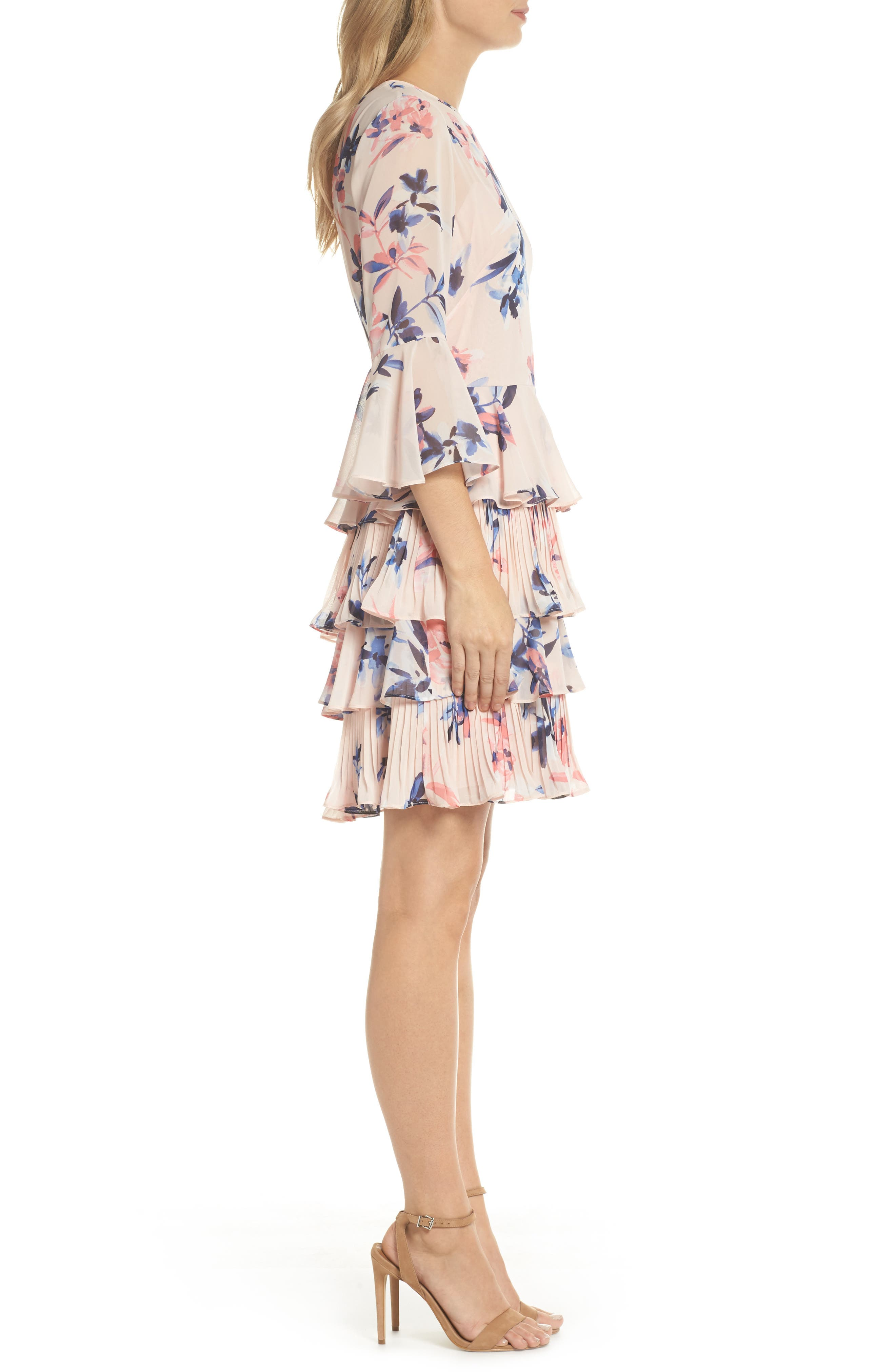 Bell Sleeve Tiered Dress,                             Alternate thumbnail 4, color,                             Blush