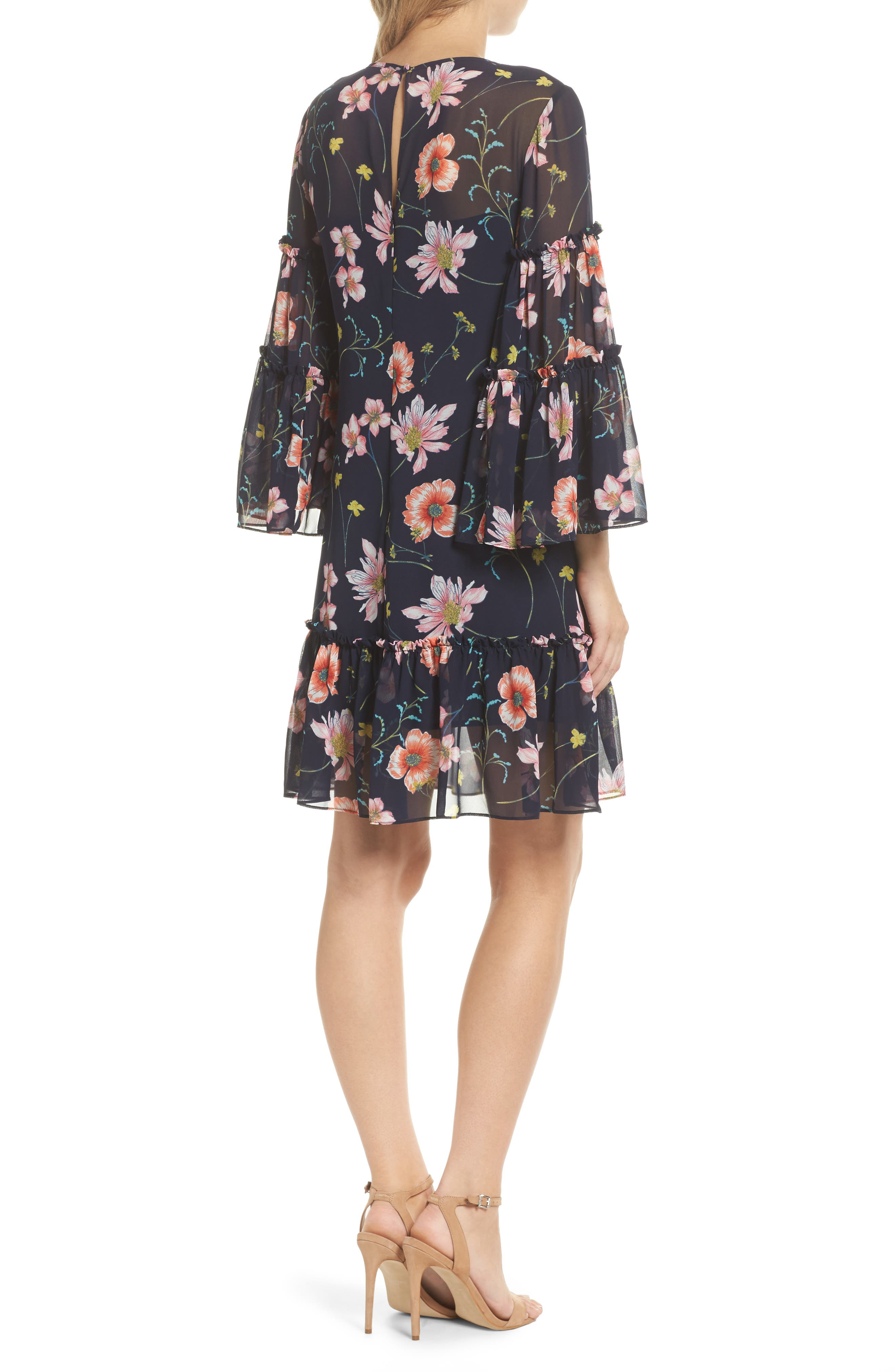 Bell Sleeve Dress,                             Alternate thumbnail 3, color,                             Navy