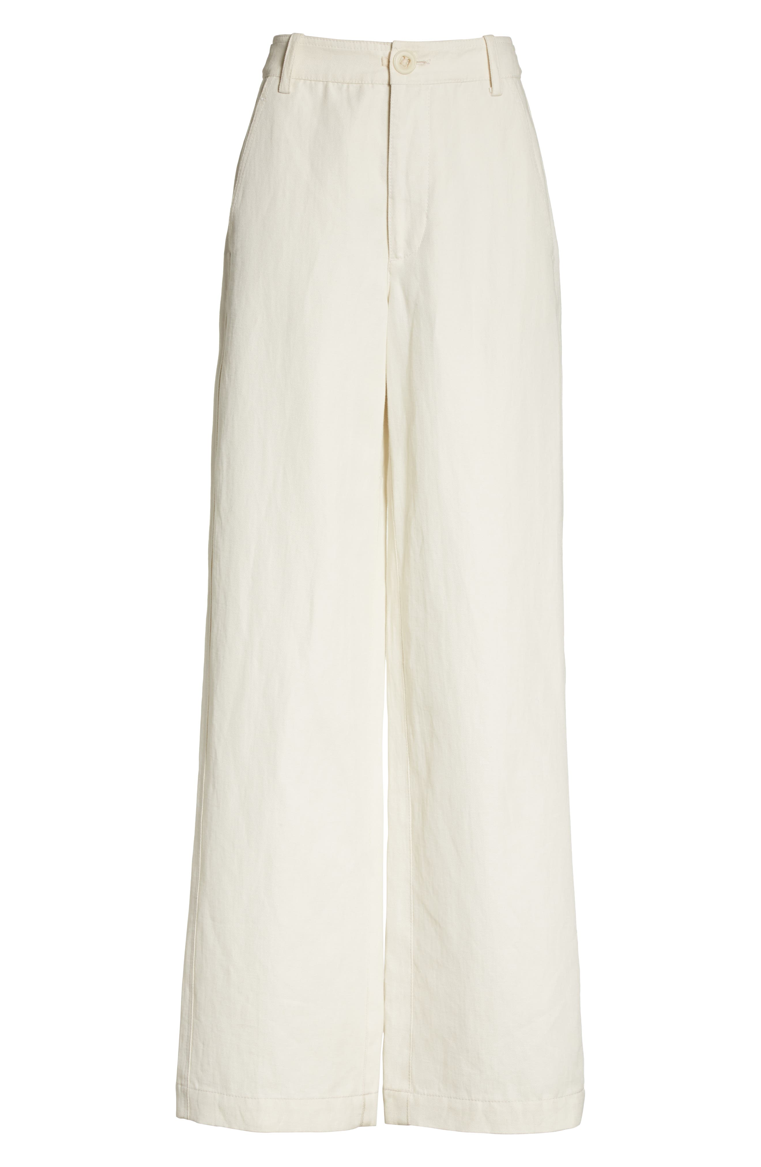 High Rise Linen Blend Wide Leg Pants,                             Alternate thumbnail 7, color,                             Gardenia