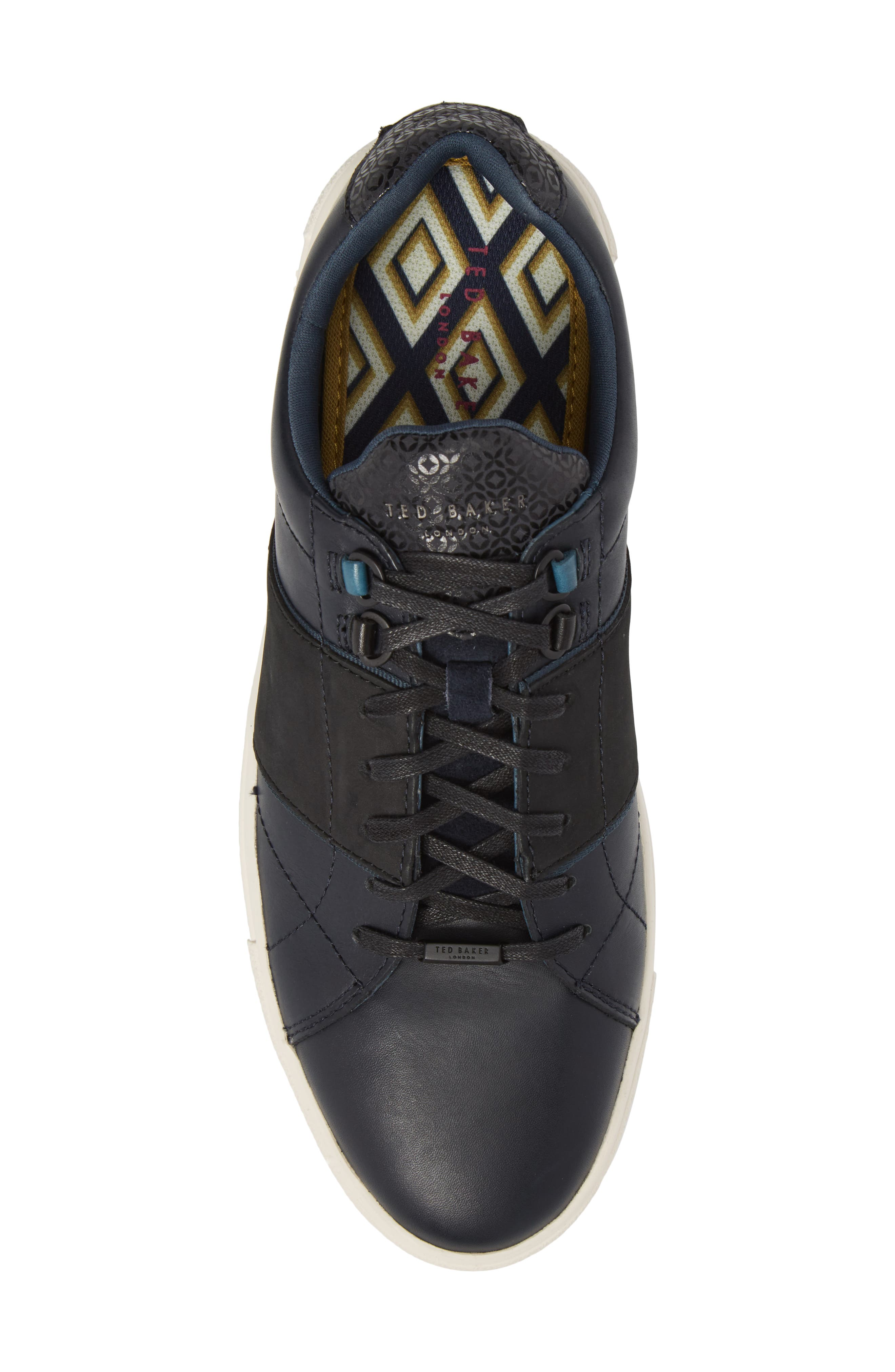 Ted Baker Quana Low Top Sneaker,                             Alternate thumbnail 5, color,                             Dark Blue Leather