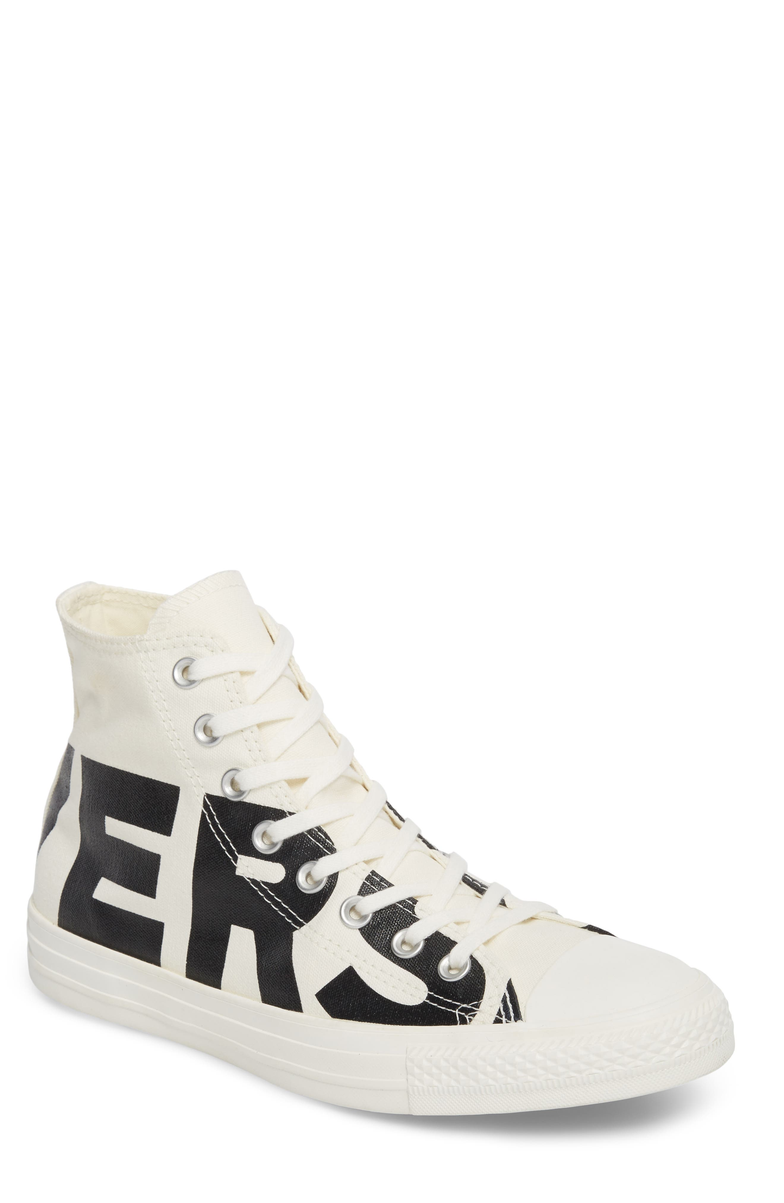 One Star Wordmark High Top Sneaker,                         Main,                         color, Black