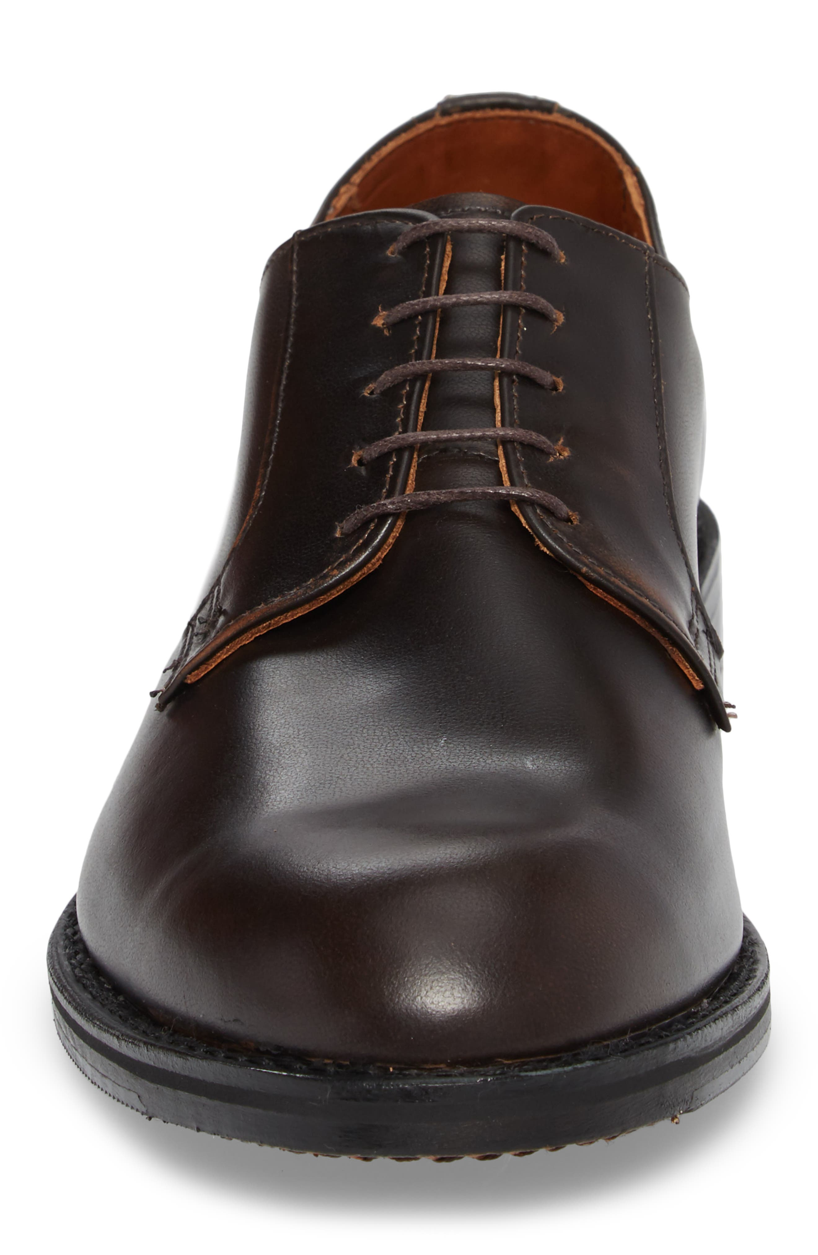 Whitney Plain Toe Derby,                             Alternate thumbnail 4, color,                             Brown Leather