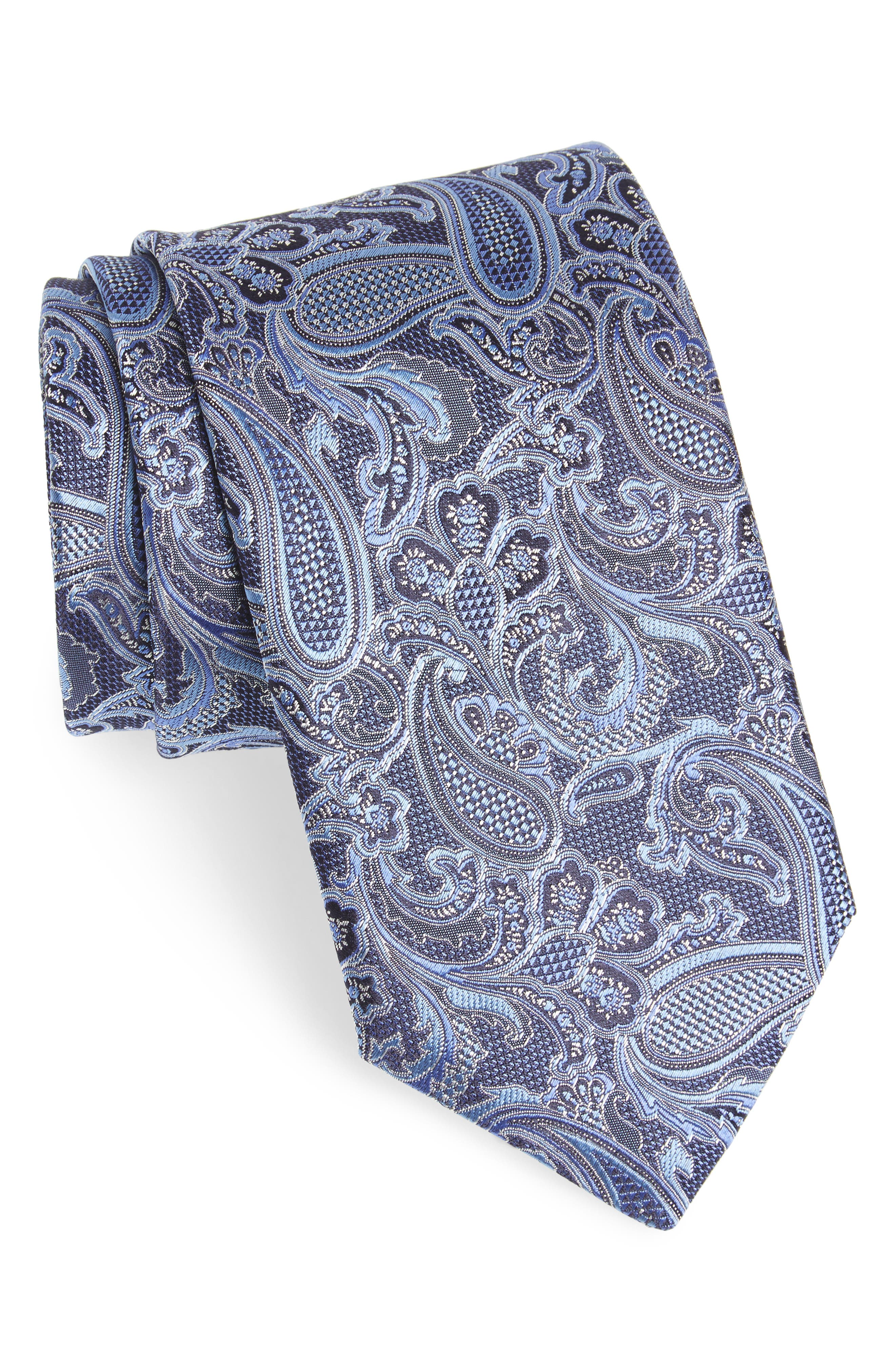 Paisley Silk Tie,                             Main thumbnail 1, color,                             Blue