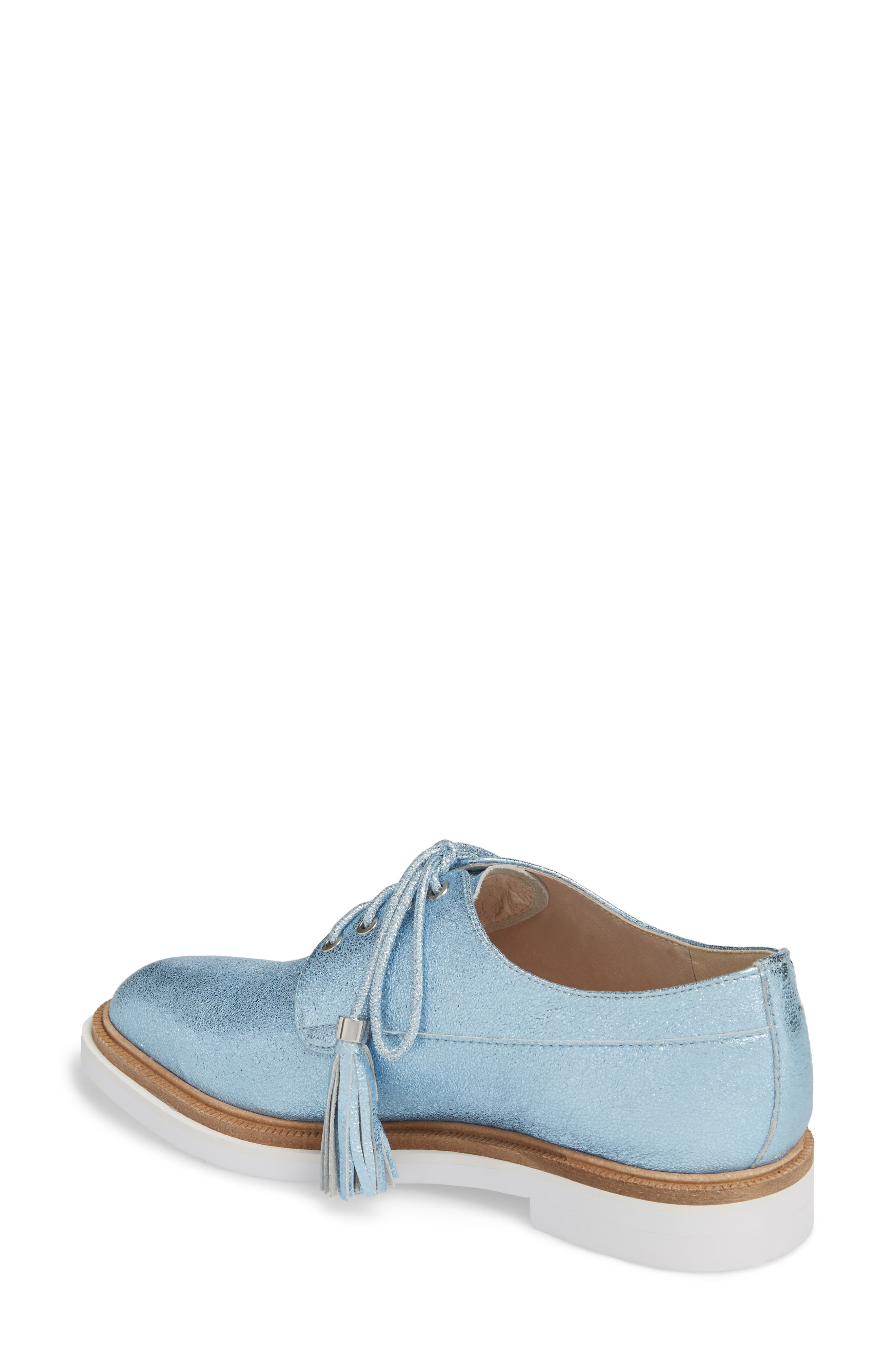 Annie Oxford,                             Alternate thumbnail 2, color,                             Blue Metallic Leather