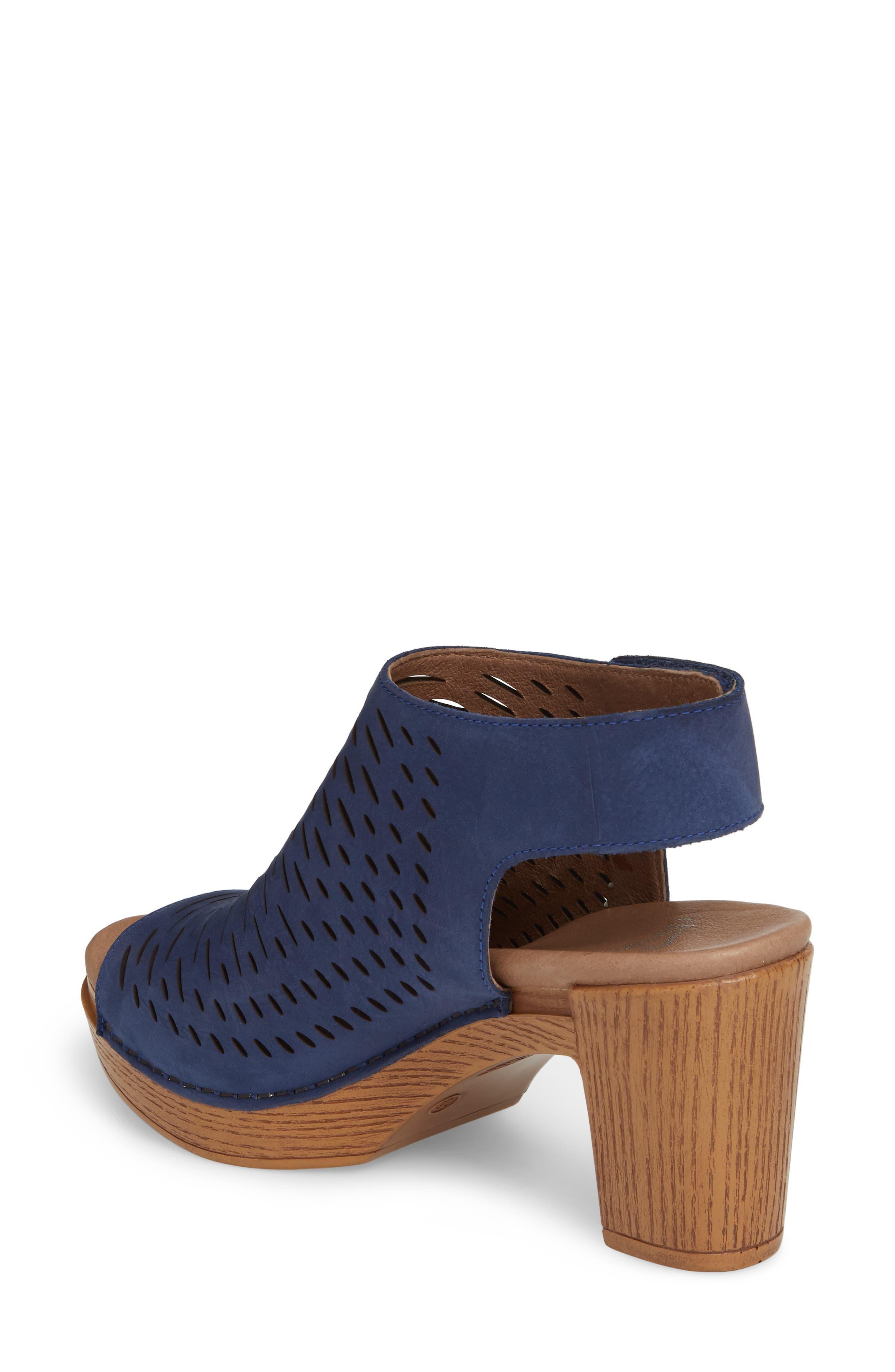 Danae Block Heel Sandal,                             Alternate thumbnail 2, color,                             Blue Milled Nubuck Leather